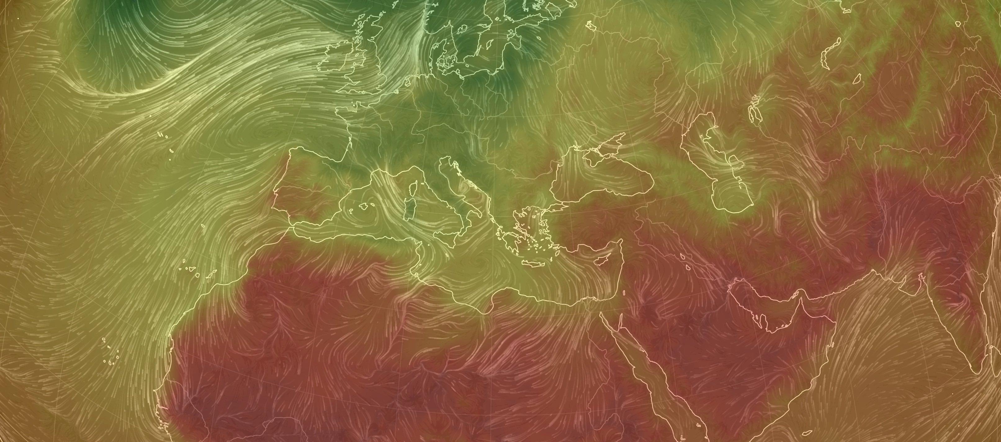Ausschnitt einer Klimakarte, zu sehen sind Luftbewegungen und Temperaturen der Nordhalbkugel der Erde