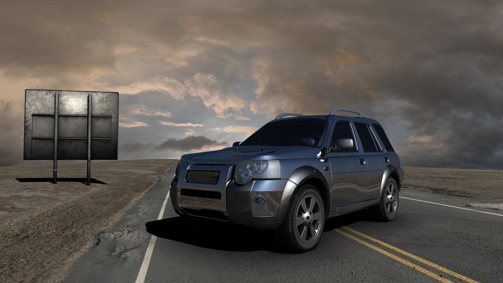 Symbolfoto SUV: Ein SUV steht auf der Straße in einer Wüste.