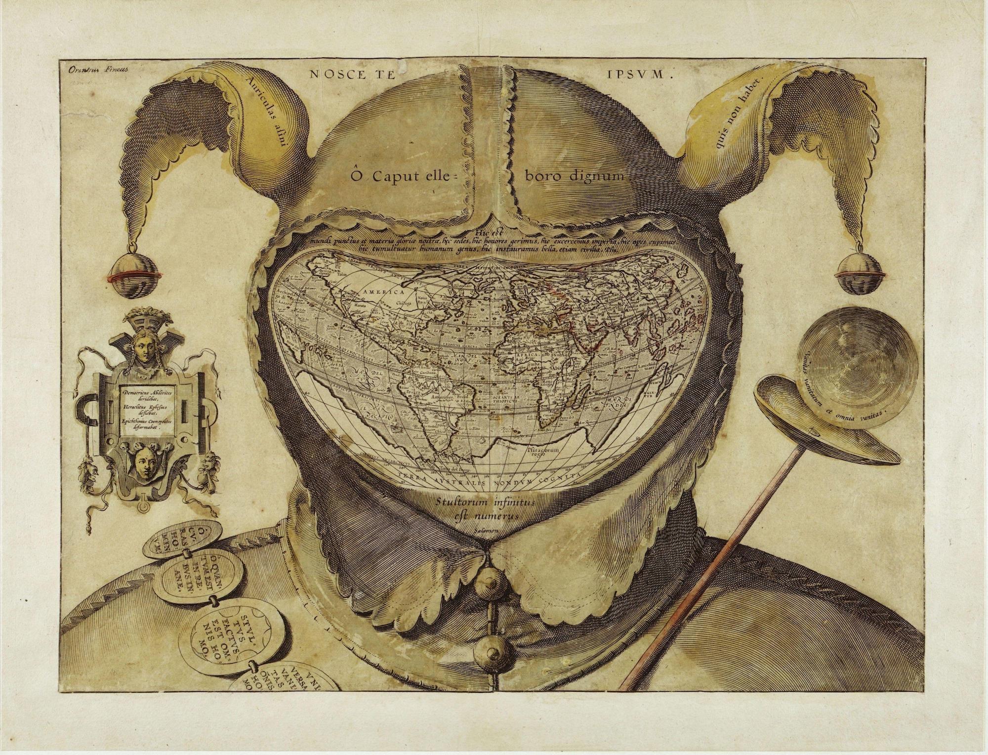 Bild des Künstlers Jean de Gourmont. Zu sehen ist das Portrait eines klassischen Narren. Unter der Kappe befindet sich jedoch kein Gesicht sondern eine Weltkarte.