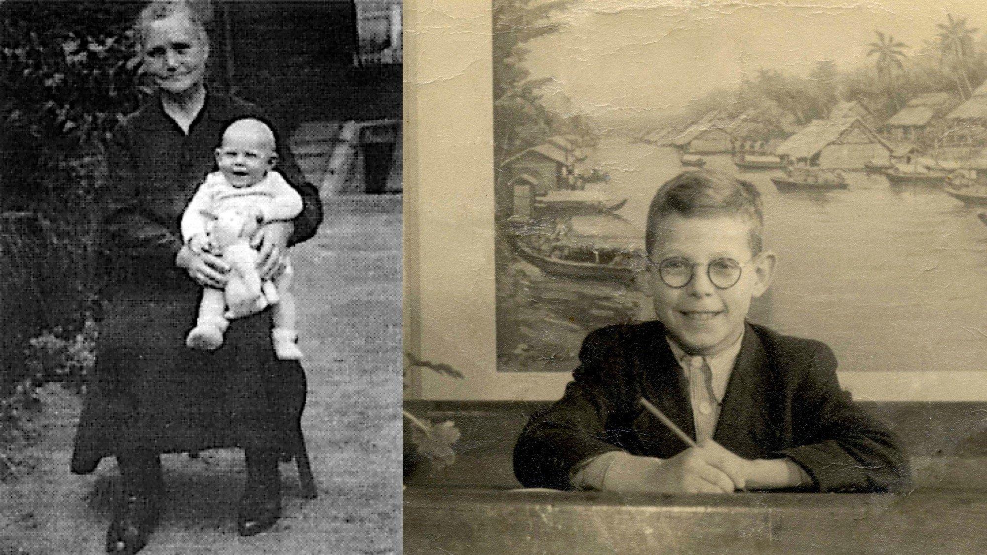 Zwei Fotos: Links Paul Crutzen als Baby auf dem Schoß seiner Großmutter. Rechts ein Foto seiner Einschulung.