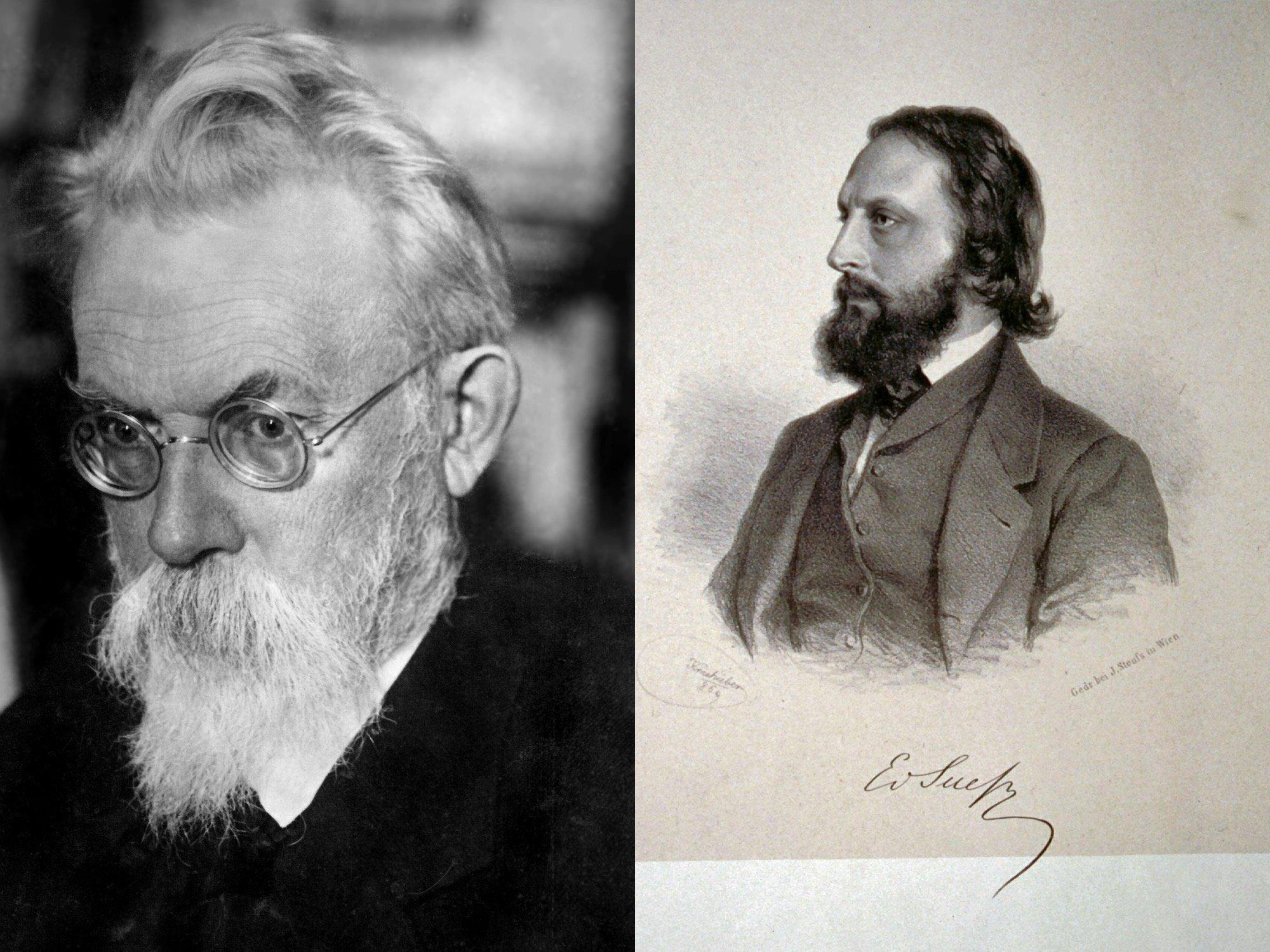 Zwei Portraits: Rechts Österreicher Eduard Suess. Links der Russe Wernadsky.