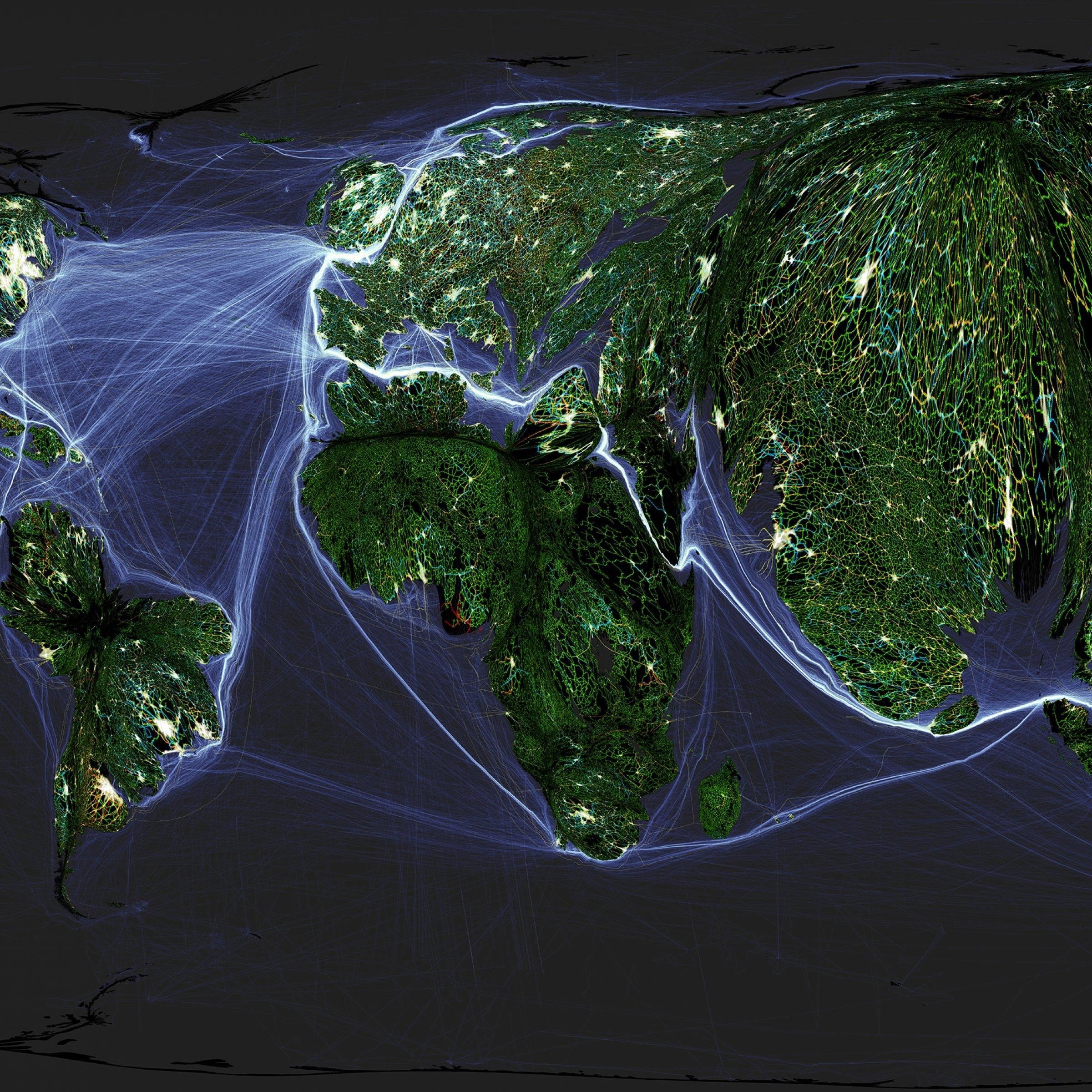 Bevölkerungskartogramm das die Landoberfläche der Erde proportional zur Verteilung der Weltbevölkerung darstellt. Darauf abgebildet sind mehrere Eben menschlicher Nutzung und Interaktion, wie Schiffsverbindungen, Straßen, Pipelines oder bebaute Gebiete.