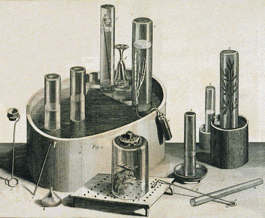 Skizze von verschiedenen Werkzeugen und Utensilien von Joseph Priestley