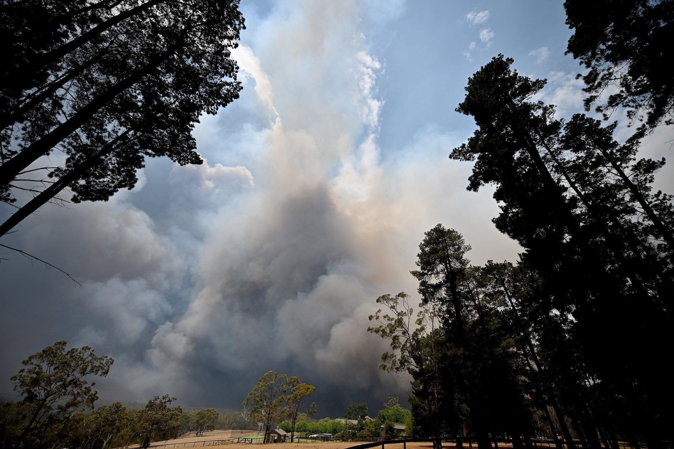 Über einer Weidelandschaft türmen sich Wolken in verschiedensten Farben auf. Wegen der Brände sind auch dunkle Rauchwolken dabei.