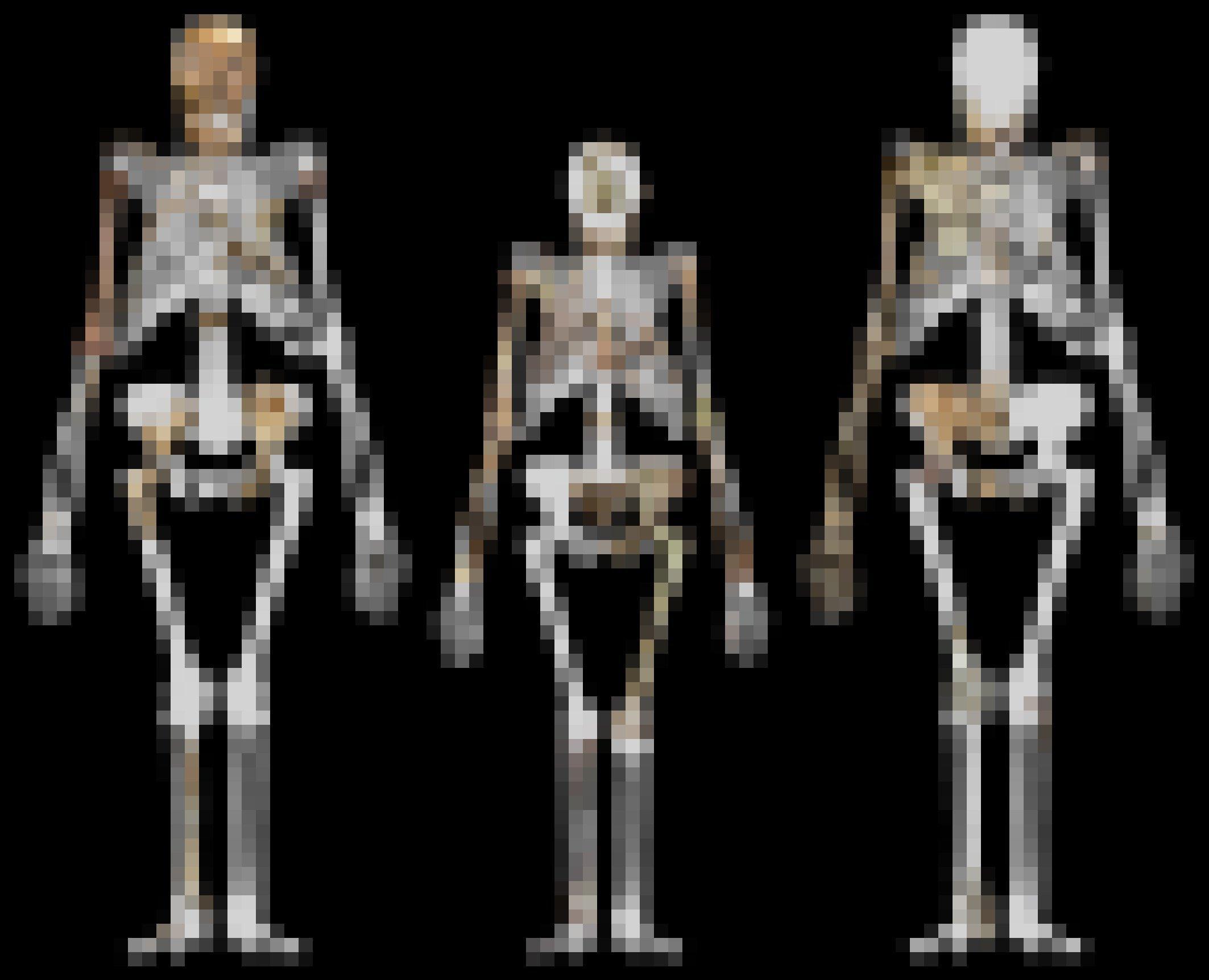 """Dargestellt sind die rekonstruierten Umrisse von drei Skeletten, in die die fossilen Knochen von Vormenschen projiziert sind. In der Mitte wird der etwas kleinere Umriss von Lucy (Australopithecus afarensis) gezeigt, links und rechts daneben jeweils ein Exemplar der Art Australopithecus sediba aus Südafrika. Die breiten Becken, """"X-Beine"""" und nach vorne schauenden Schädel zeigen eindeutig, dass diese Wesen eine aufrechte Körperhaltung hatten."""