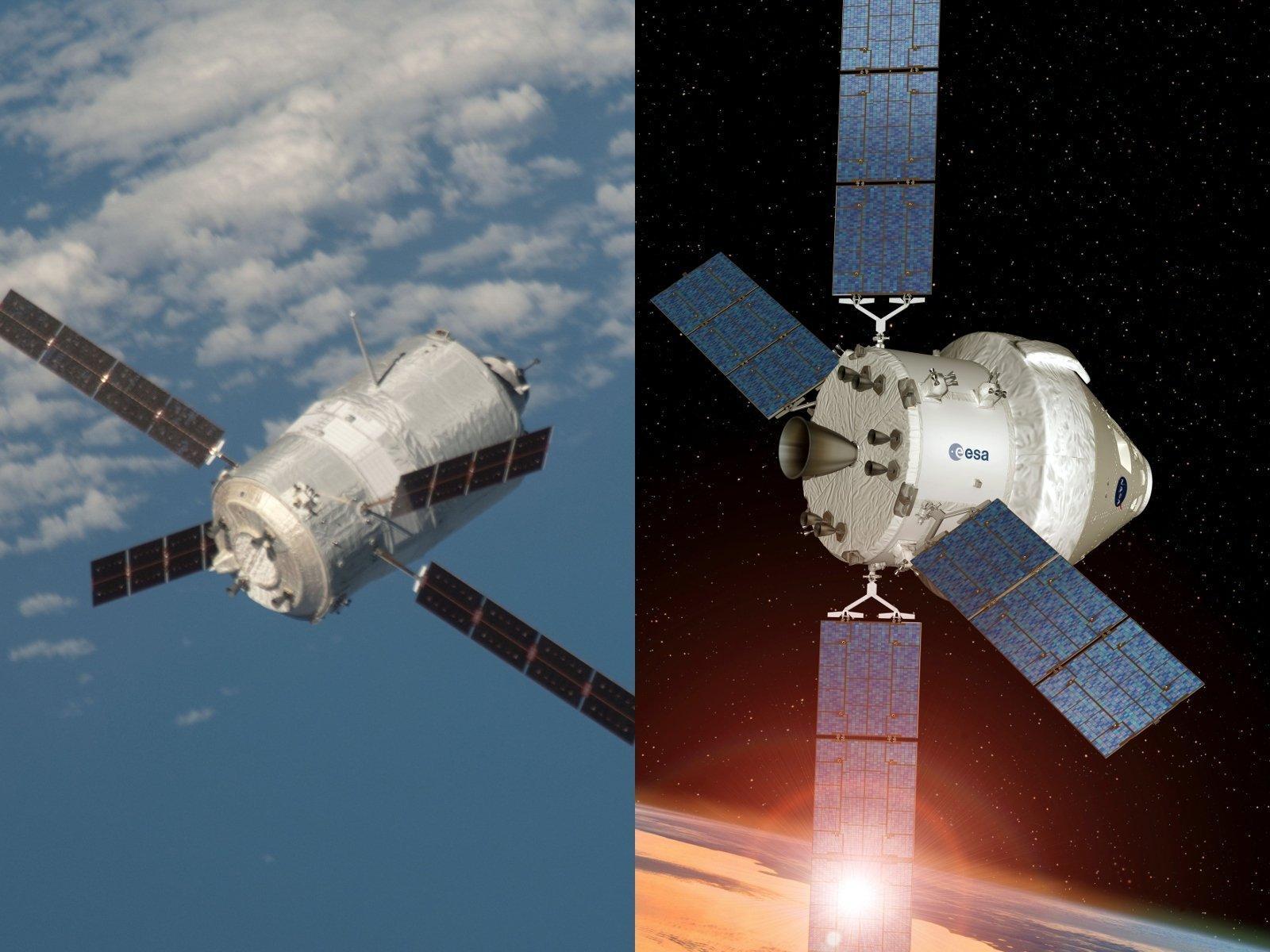 Ein Foto des Automated Transfer Vehicle, eine Grafik des geplanten Orion-Raumschiffs