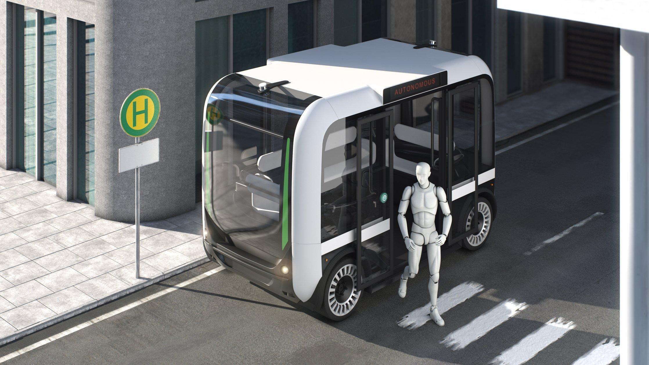 In einer Computergrafik steigt an einer Haltestelle eine Person aus einem autonom fahrenden Bus aus.