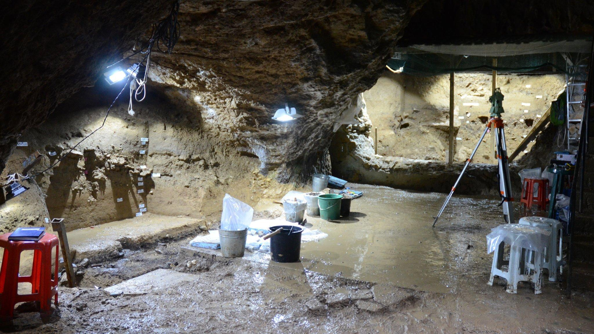 Das Foto zeigt die mit grellen, kaltweißen Leuchten angestrahlten Wölbungen und den feuchten Boden der Bacho-Kiro-Höhle in Bulgarien. In der Mitte stehen bunte Plastikeimer, die Grabungsutensilien der Forscher enthalten, und am Rande Plastikhocker. Die 45.000Jahre alten Hinterlassenschaften der ersten modernen Menschen in Europa ruhten hier im Boden verborgen.