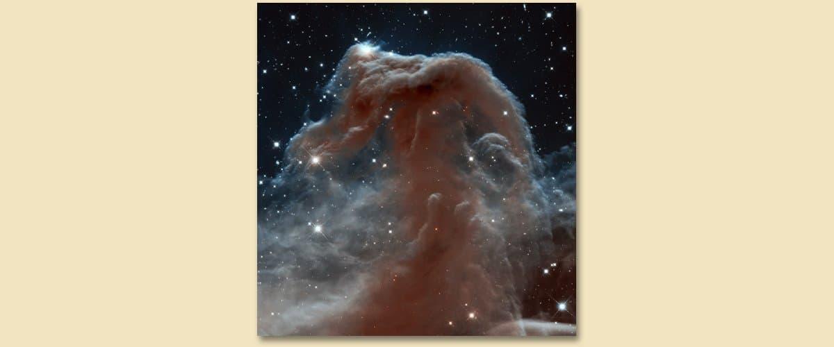 Der Pferdekopfnebel im Sternbild Orion ist ein sehr belanntes Beispiel für einen Dunkelnebel. Visuell kaum zugänglich, hier auf einer Aufnahme des Weltraumteleskops Hubble.
