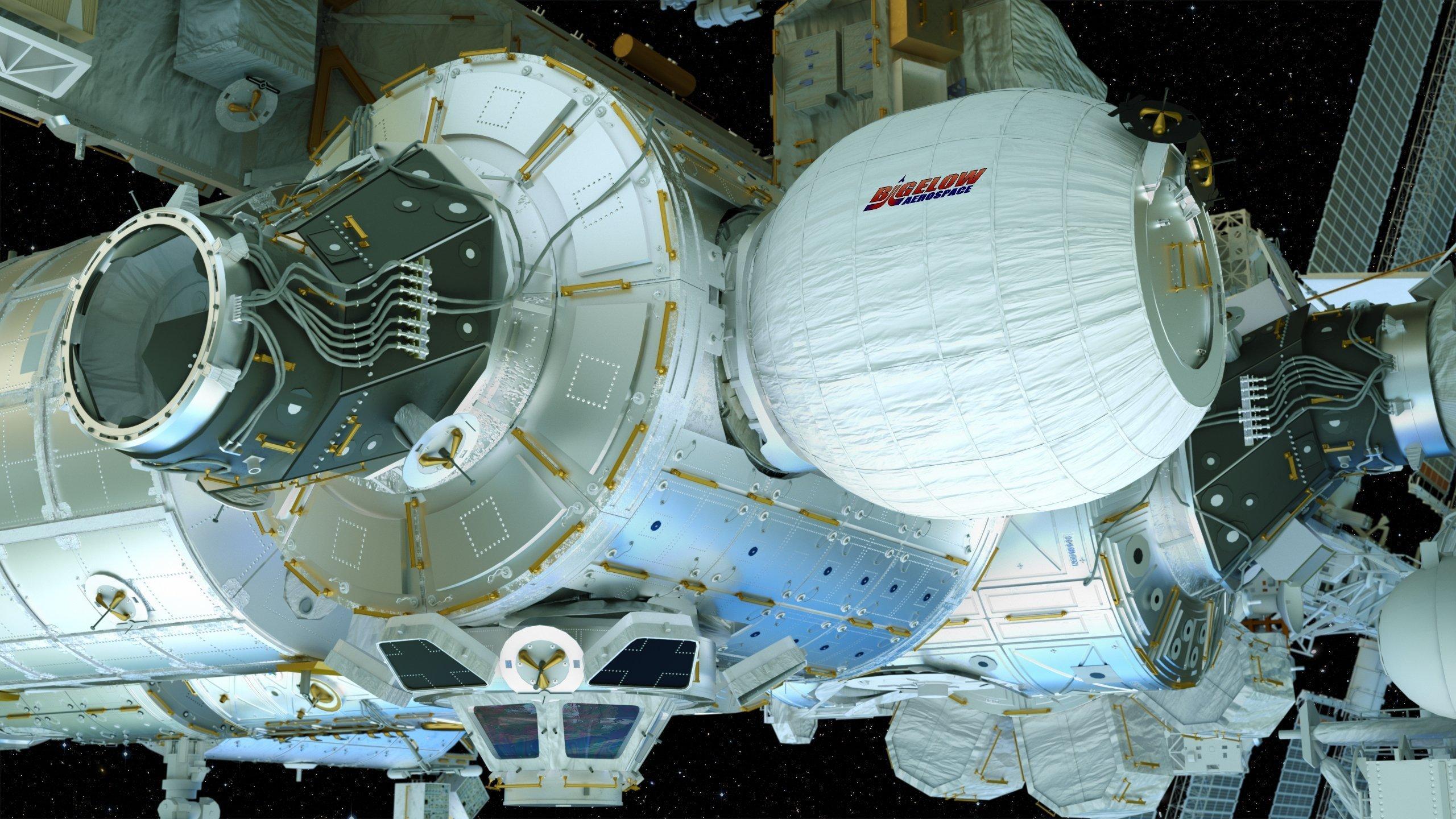 ISS mit seit 2016angedocktem Modul des US-Unternehmens Bigelow Aerospace.