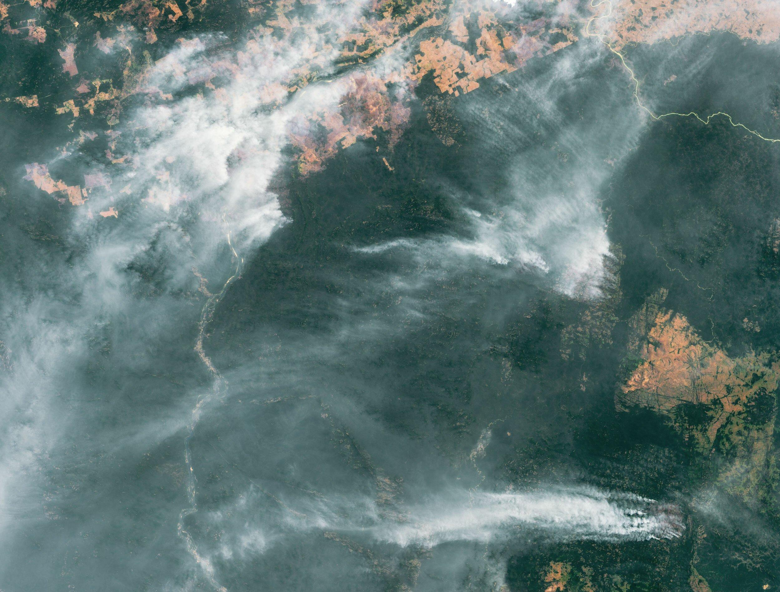 Satellitenbild zeigt Amazonas-Regenwald mit riesigen Rauchschwaden aus Waldbränden.