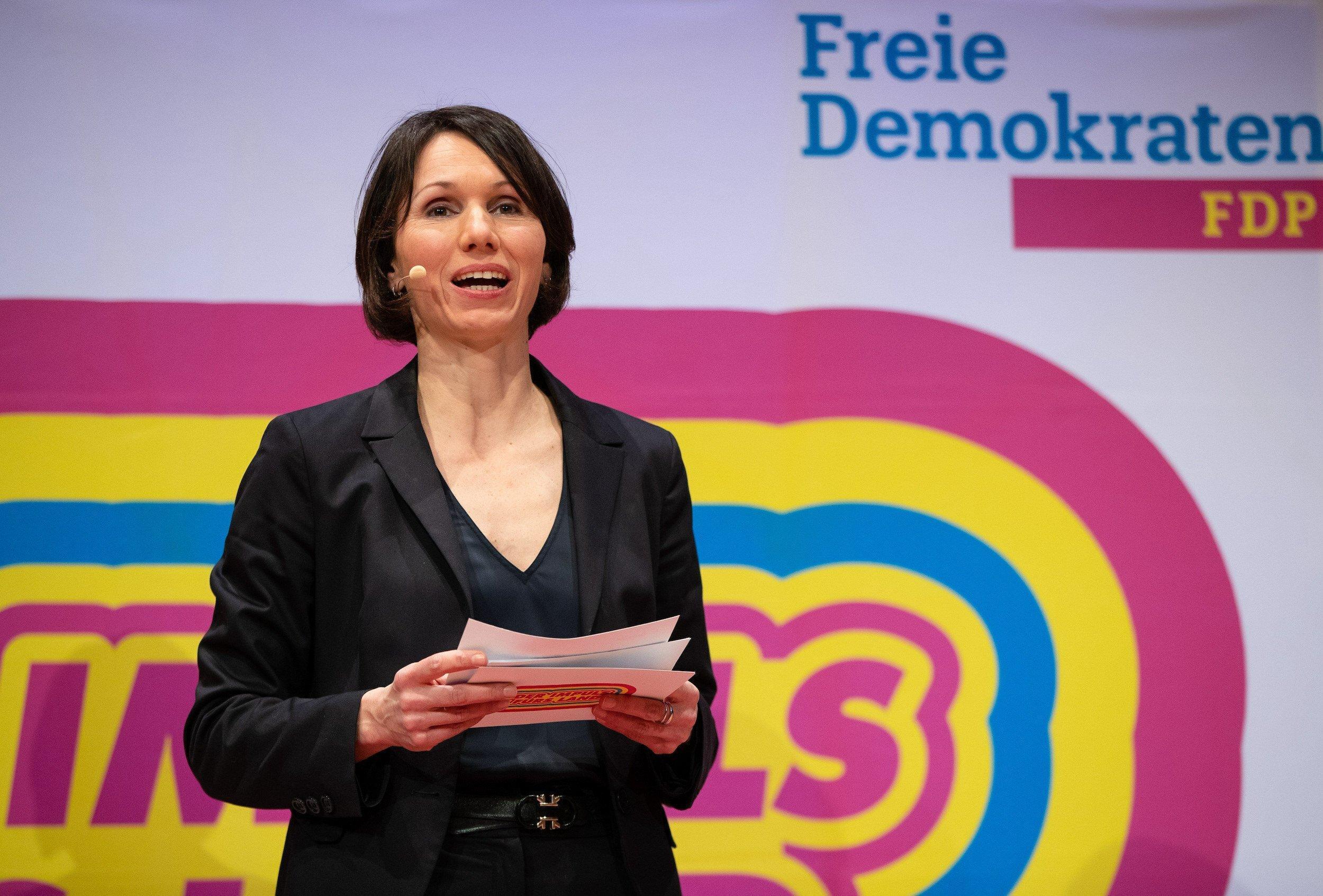 Judith Skudelny, Generalsekretärin der FDP Baden-Württemberg, spricht beim Digitalen Landeshauptausschuss der FDP Baden-Württemberg im CongressCentrum Pforzheim.