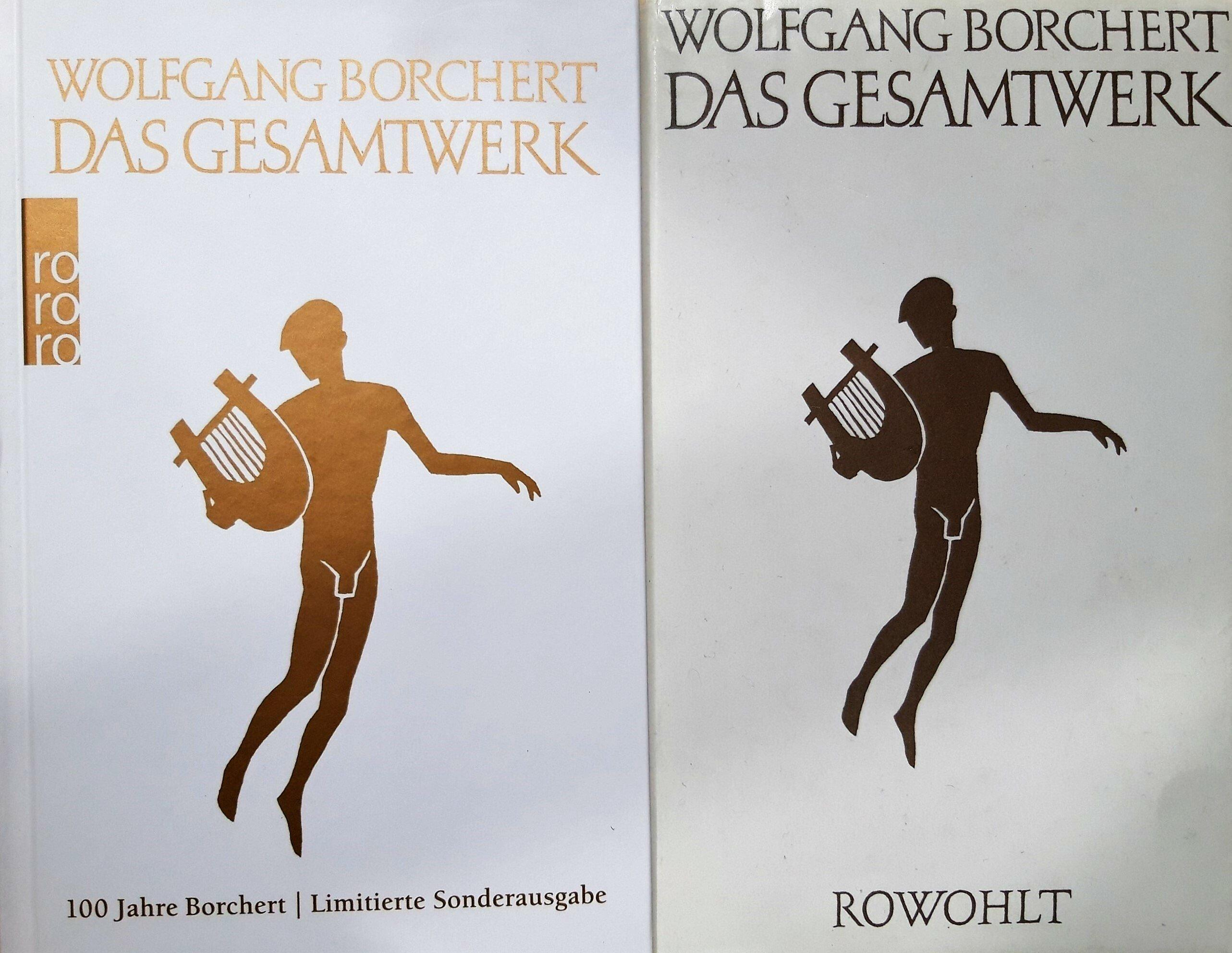 """Coverabbildung mit die Haupttitel """"Wolfgang Borchert: Das Gesamtwerk""""; darunter die Umrisse einer klassizistischen, eine Leier haltenden Künstlerfigur."""