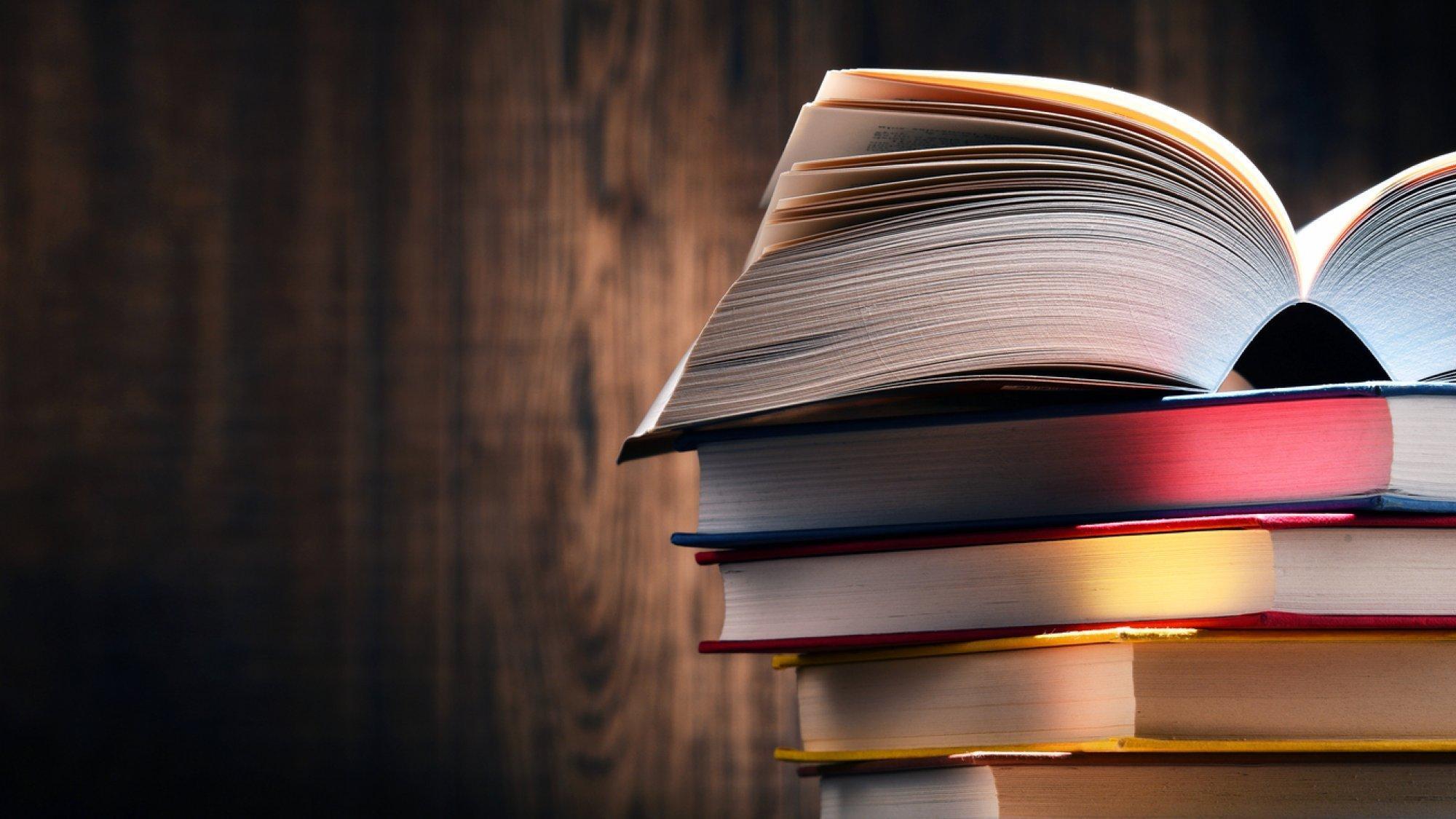 Rechts sind mehrere Bücher gestapelt. Das oberste Buch ist aufgeklappt. Im Hintergrund ist eine dunkle Holzwand zu sehen.