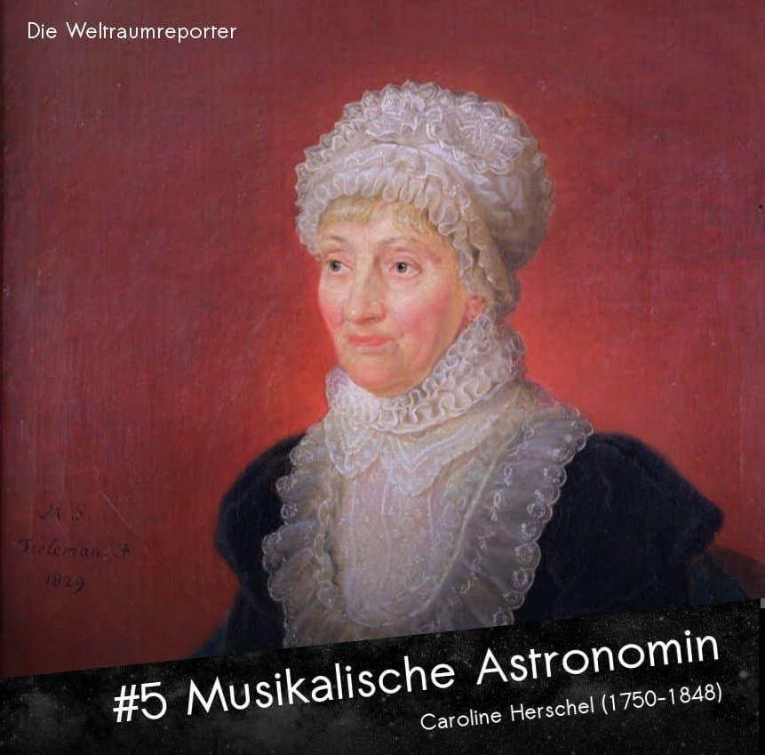 Caroline Herschel in höherem Alter, mit einem Kleid mit angedeuteter Halskrause und einer weißen Spitzenhaube