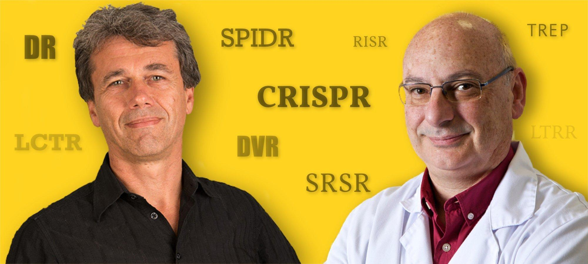Ruud Jansen (li) und Francisco Mojica (re.) waren sich einig, dass sie einen neuen, prägnanten Namen brauchten, um all die anderen Bezeichnungen zu ersetzen. Vor CRISPR gab es Abkürzungen wie LCTR, DR, DVR, LTRR, TREP, SPIDR, SRSR.