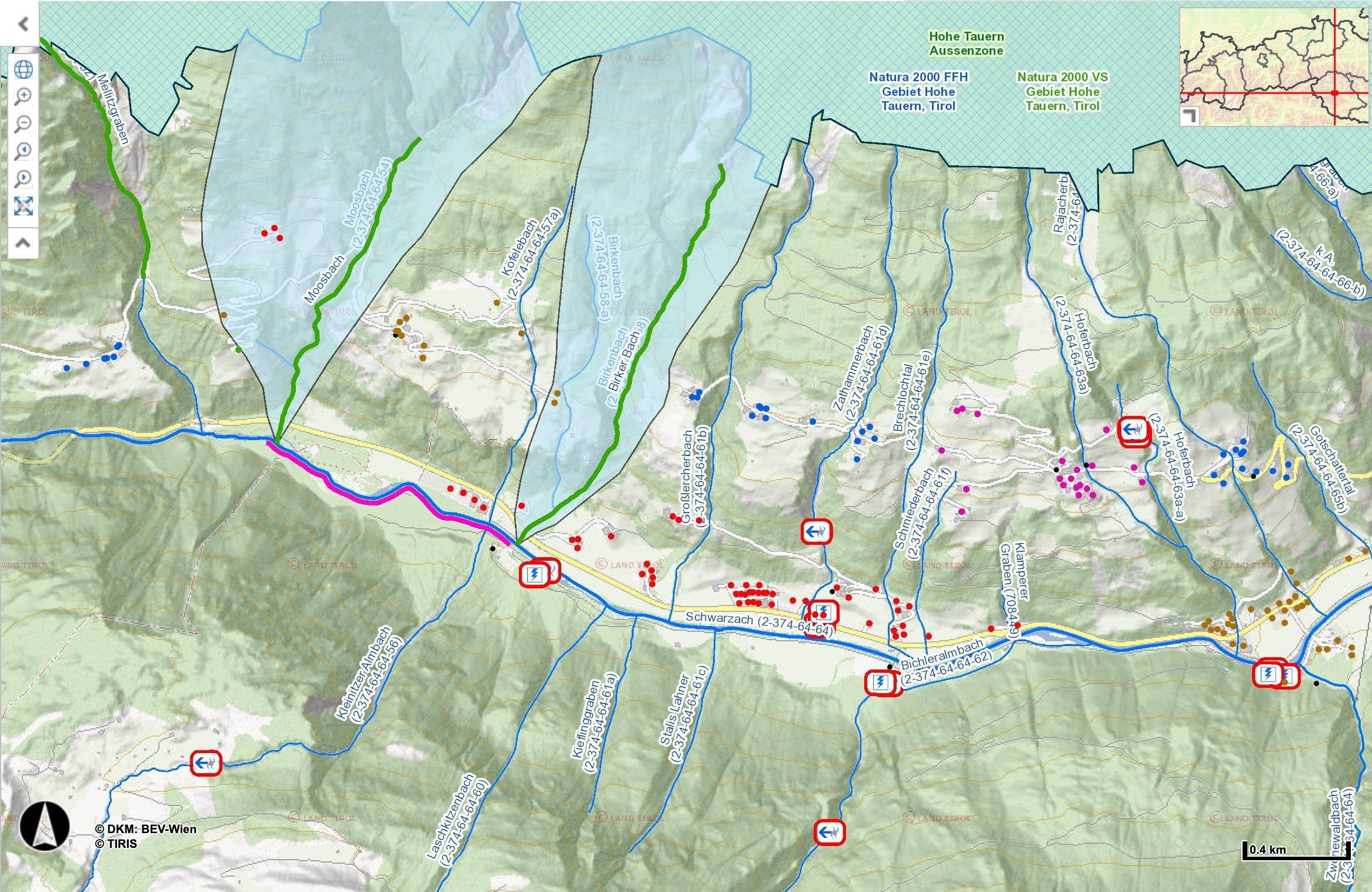 Screenshot einer Karte des Defereggentales mit Kraftwerkssymbolen.