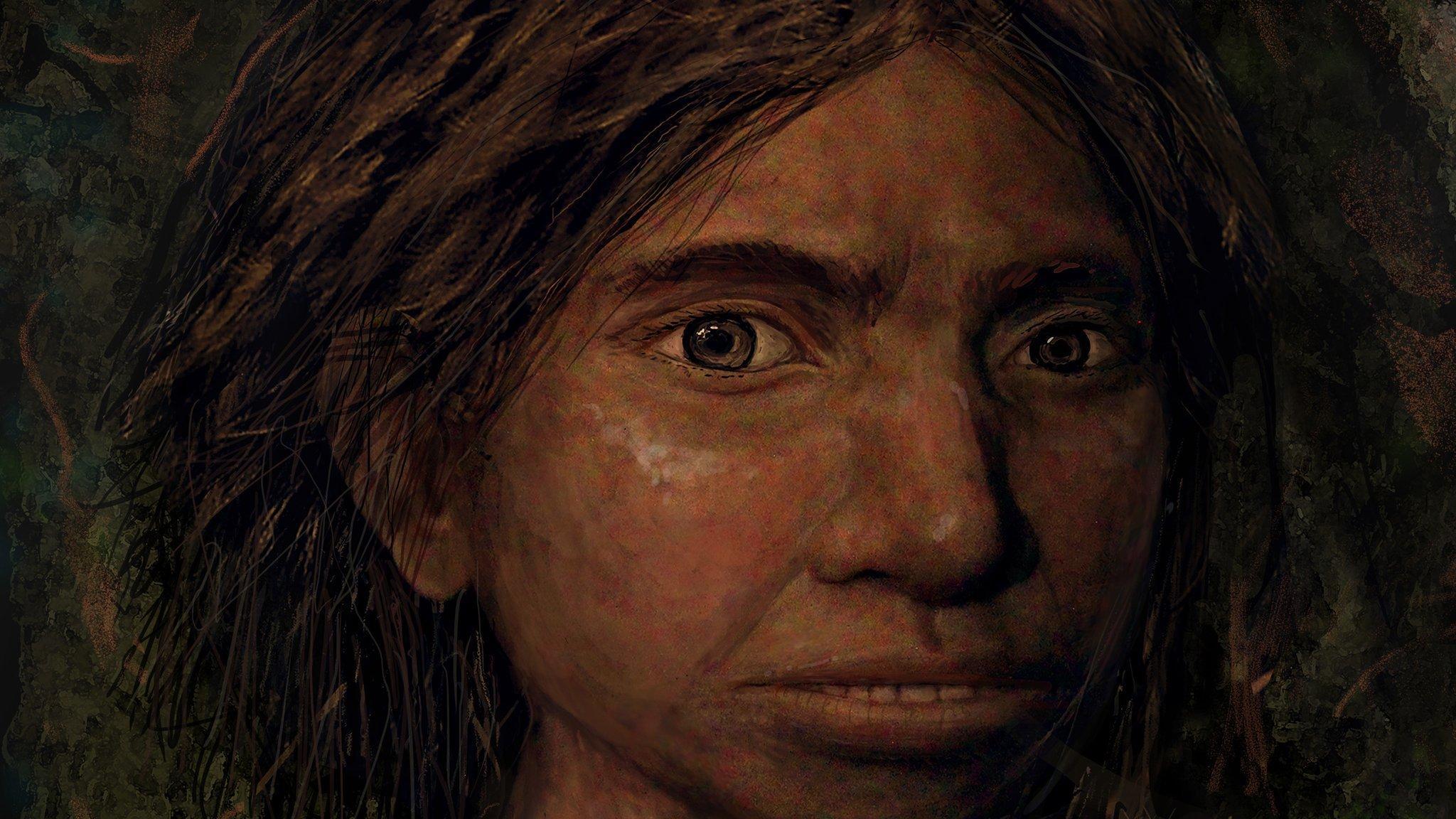 Das Bild zeigt das in bräunlichen Farbtönen gehaltene Porträt eines Mädchens mit kräftigen, dunklen Haaren und einem ungewöhnlich breiten Gesicht. Es handelt sich um die Illustration einer Frau der Denisova-Urmenschen. Deren Aussehen rekonstruierten Forschende aufgrund genetischer Analysen.