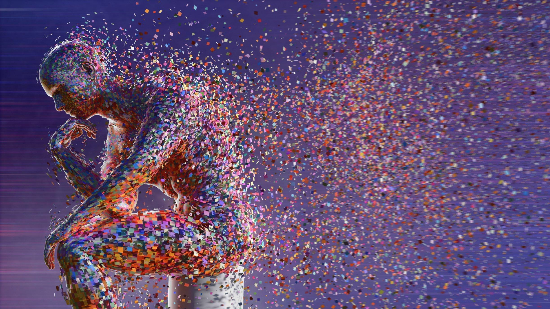 In dieser Computergrafik formen zahlreiche farbige Pixel eine Denkerfigur.