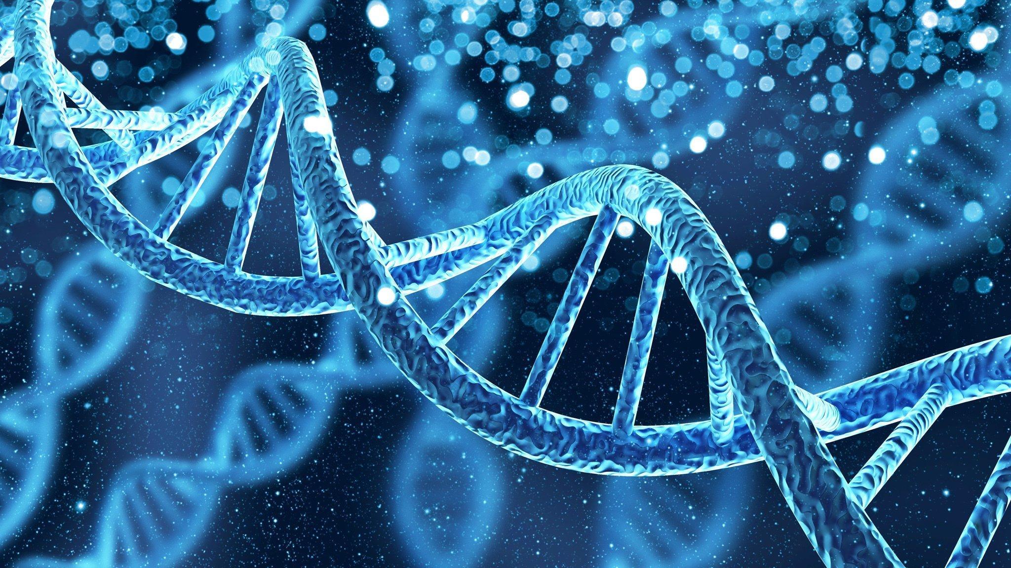 Das Foto zeigt die in Blautönen gehaltene Illustration eine DNA-Spirale – dem Träger der Erbinformation. Heutzutage können Forschende deren komplette Buchstabenfolge entziffern und herauslesen, wer von wem abstammt und ob es gemeinsame Vorfahren gab.
