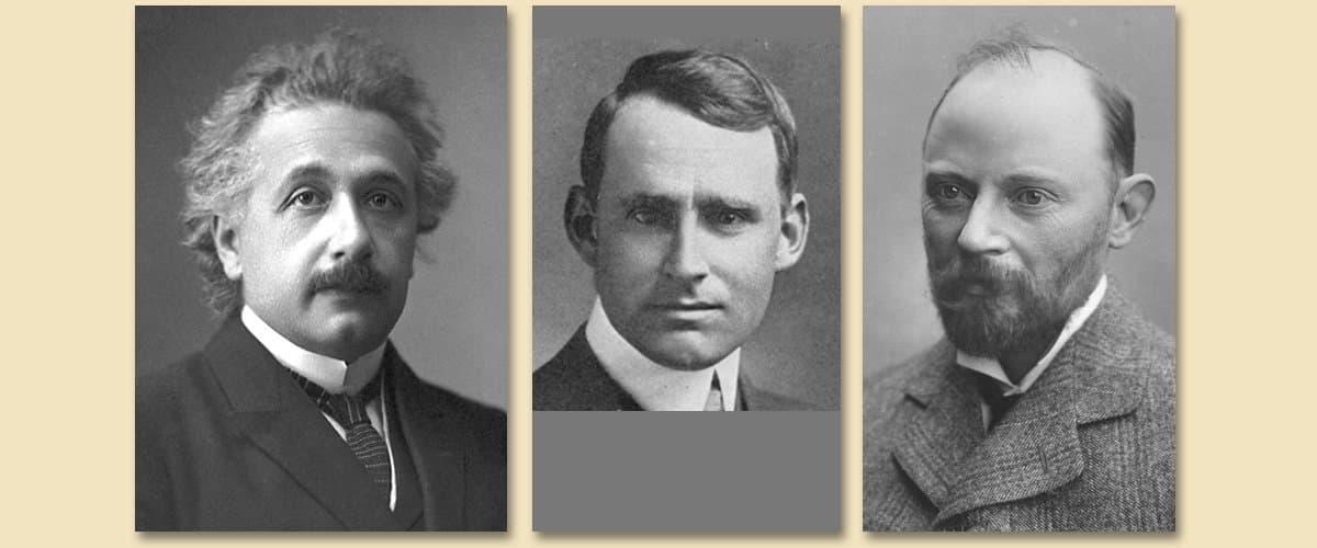 Drei Aufnahmen von Albert Einstein (1921), Arthur Stanley Eddington (1920) und Andrew Crommelin (1915).
