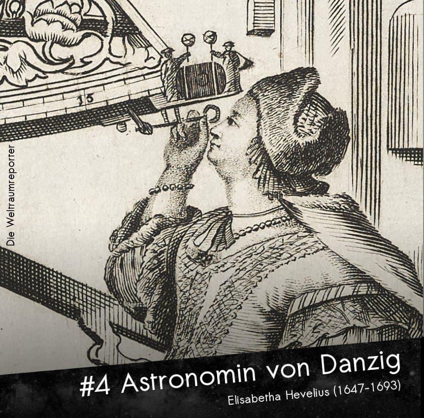 Kupferstich einer Frau, die schräg nach oben in ein astronomisches Messgerät blickt