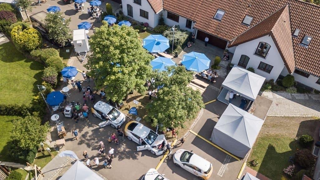 """Luftbild der """"E-Mobility Allee"""" in Ostfildern-Ruit bei Stuttgart"""