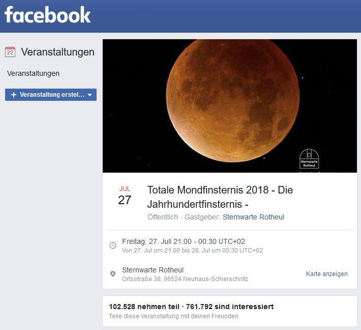 Screenshot der Facebook-Veranstaltung der Sternwarte Rotheul zur totalen Mondfinsternis.