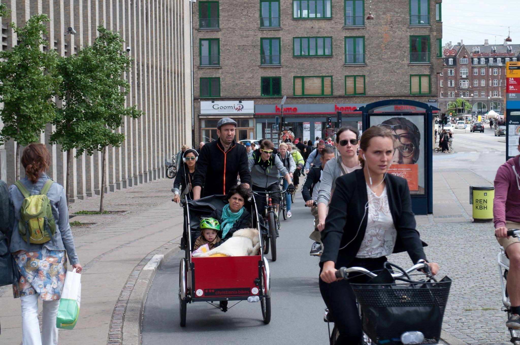 Breiter Radweg mit Lastenrädern.
