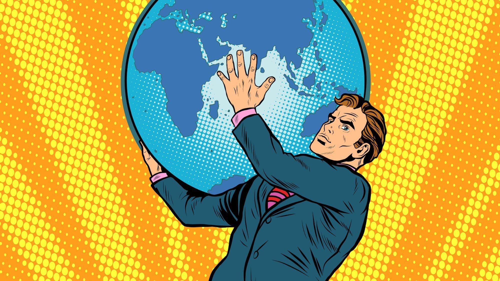 Künstlerische Darstellung im Comic-Stil. Ein Mann im Anzug trägt eine große Erdkugel auf der Schulter. Der Hintergrund ist gelb/orange.