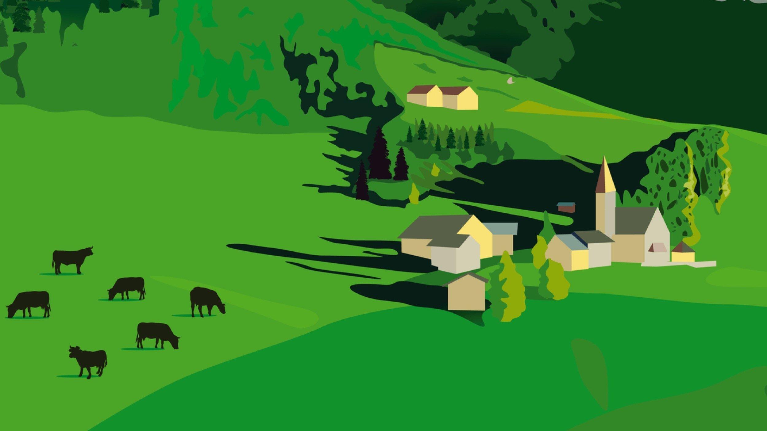 Künstlerische Illustration von Bergen mit einem Dorf und ein paar Tieren.