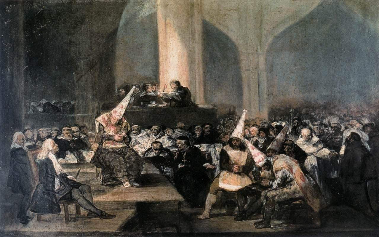 Goya, The Inquisition Tribunal 1812–19Oil on panel, 46 × 73cm Museo de la Real Academia de San Fernando, Madrid