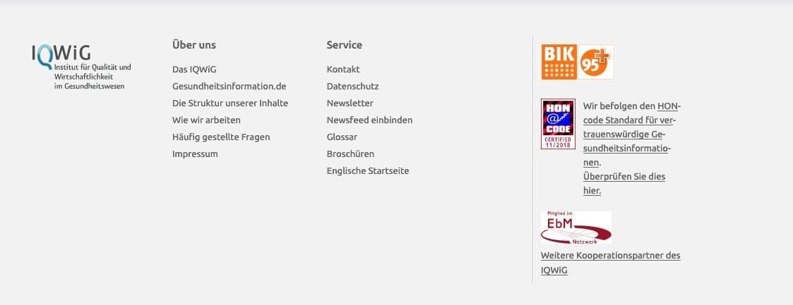 Screenshot des Fußbereichs (Footer) von www.gesundheitsinformation.de