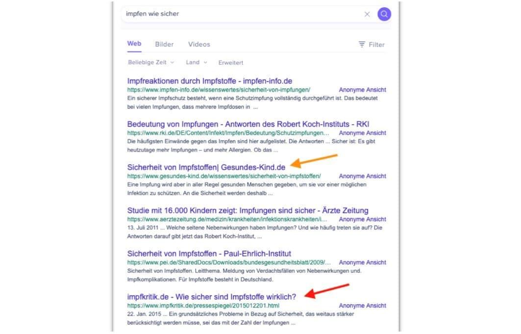 """Screenshot der Suchergebnisse zur Wortkombi """"Impfen wie sicher"""" bei der Suchmaschine Startpage. Zu sehen ist die Ergebnisliste von Google"""