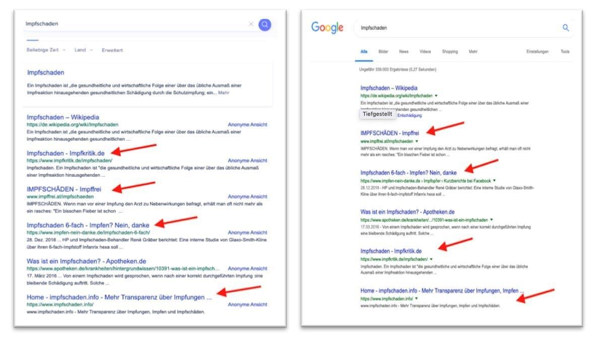 """Screenshot der Suchergebnisse zum Suchbegriff """"Impfschaden"""". Vergleich der Ergebnisse bei Startpage und Google. Zu sehen sind die Ergebnislisten"""