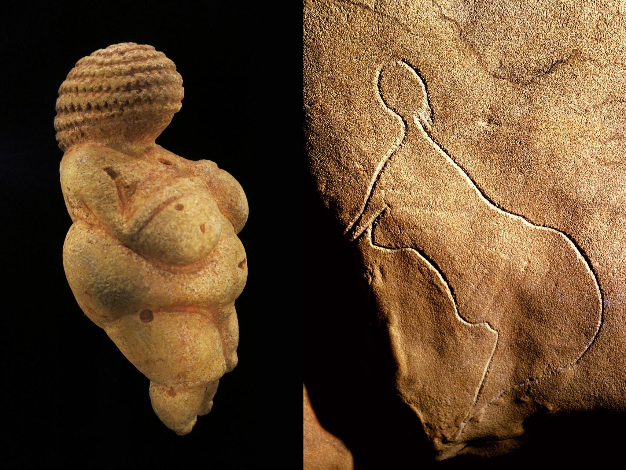 Auf der linken Seite dieser doppelten Abbildung ist die gelbliche Figur einer nackten, üppigen Frau zu sehen. Sie wurde in der Nähe von Wien gefunden und ist als Venus von Willendorf bekannt. Rechts ist der in den Fels geritzte Umriss einer Frau aus der Grotte de Cussac in Südwestfrankreich abgebildet. Figuren, Felszeichnungen und aufwendige Begräbnisse in Höhlen waren vor 25.000bis 30.000Jahren stark verbreitet. Forschende bezeichnen die Kulturepoche jener Zeit als Gravettien.