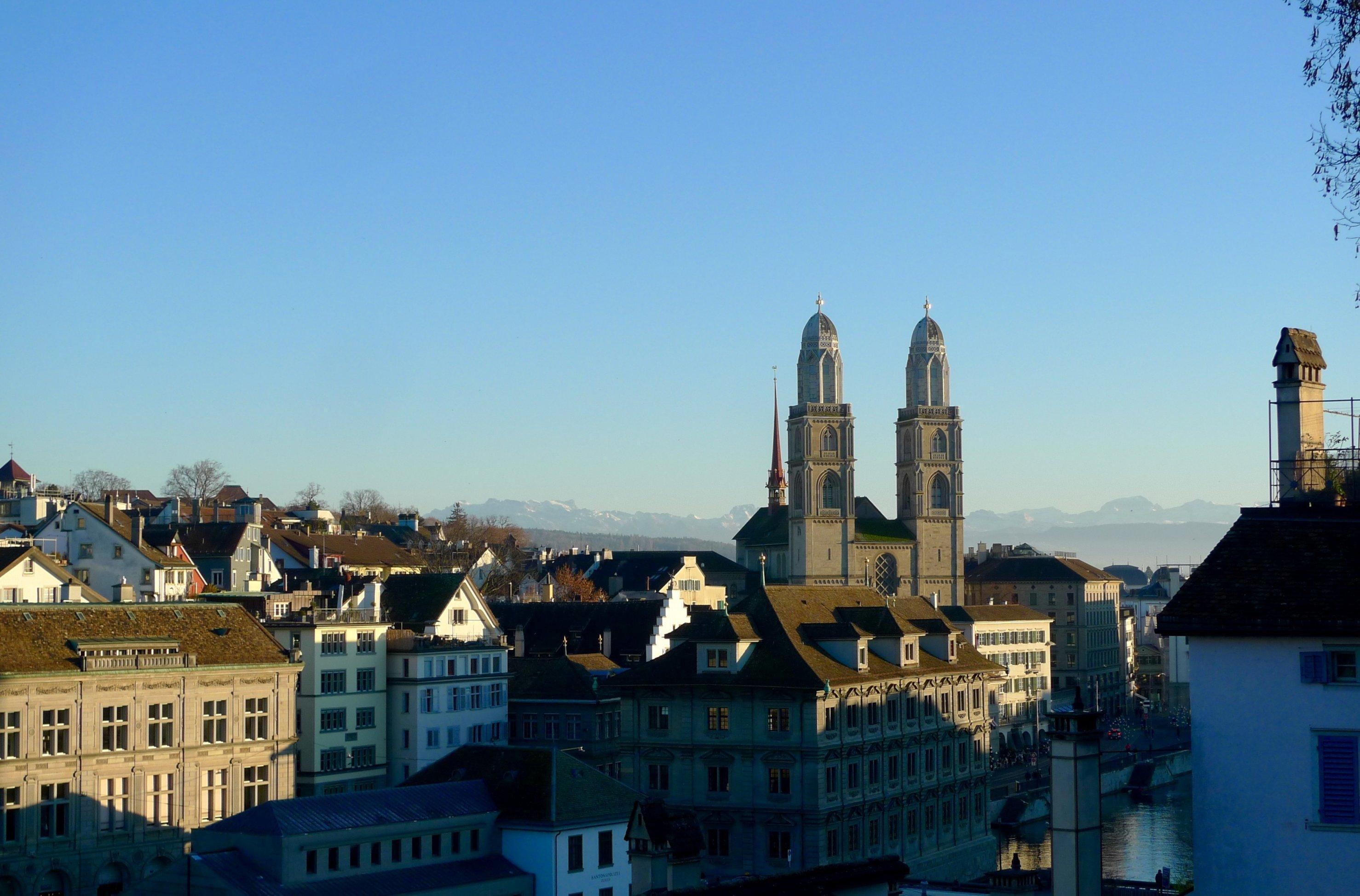 Blick auf die Altstadt von Zürich mit dem Grossmünster. Dort nisten Alpensegler. Hohe Gebäude sind für sie Ersatzfelsen.