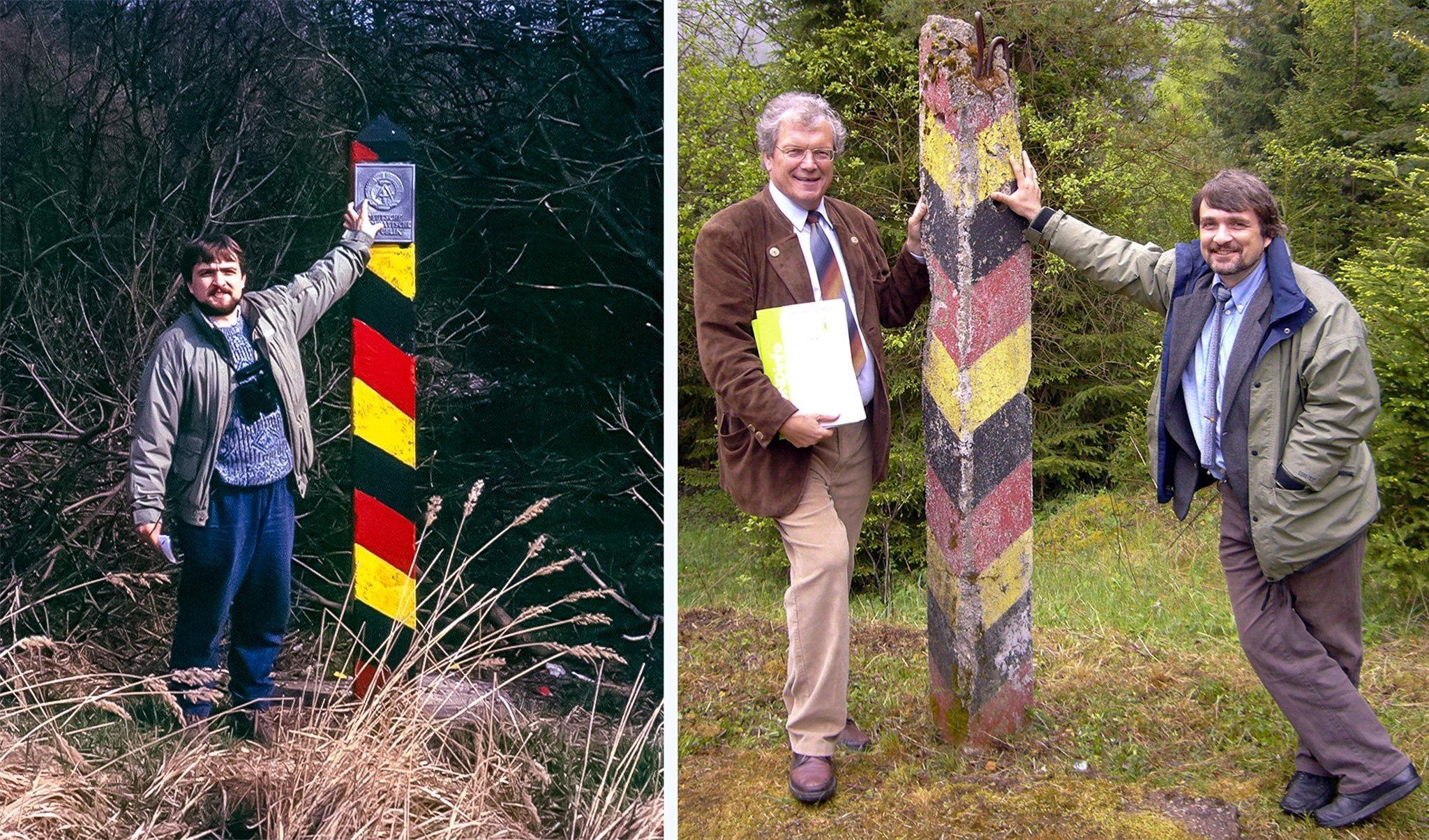 """Links Dr. Kai Frobel im März 1990bei einer Pressefahrt in der Gegend um Mitwitz in Oberfranken. Auf dem rechten Bild ist er 2017mit einem anderen Wegbereiter des """"Grünen Bandes"""" zu sehen, Hubert Weiger.."""
