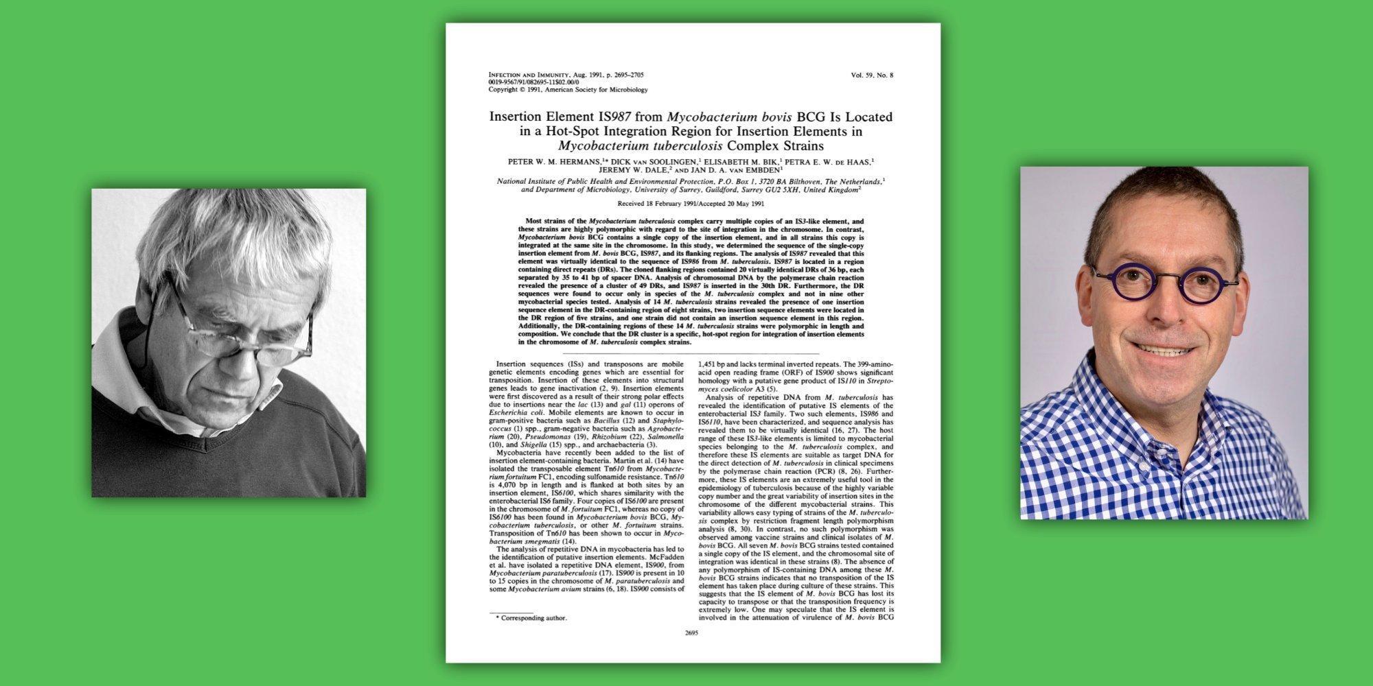 Die Portraits von Jan van Embden und Peter Hermans links und rechts ihres Fachartikels aus dem Jahr 1991vor grünem Hintergrund.