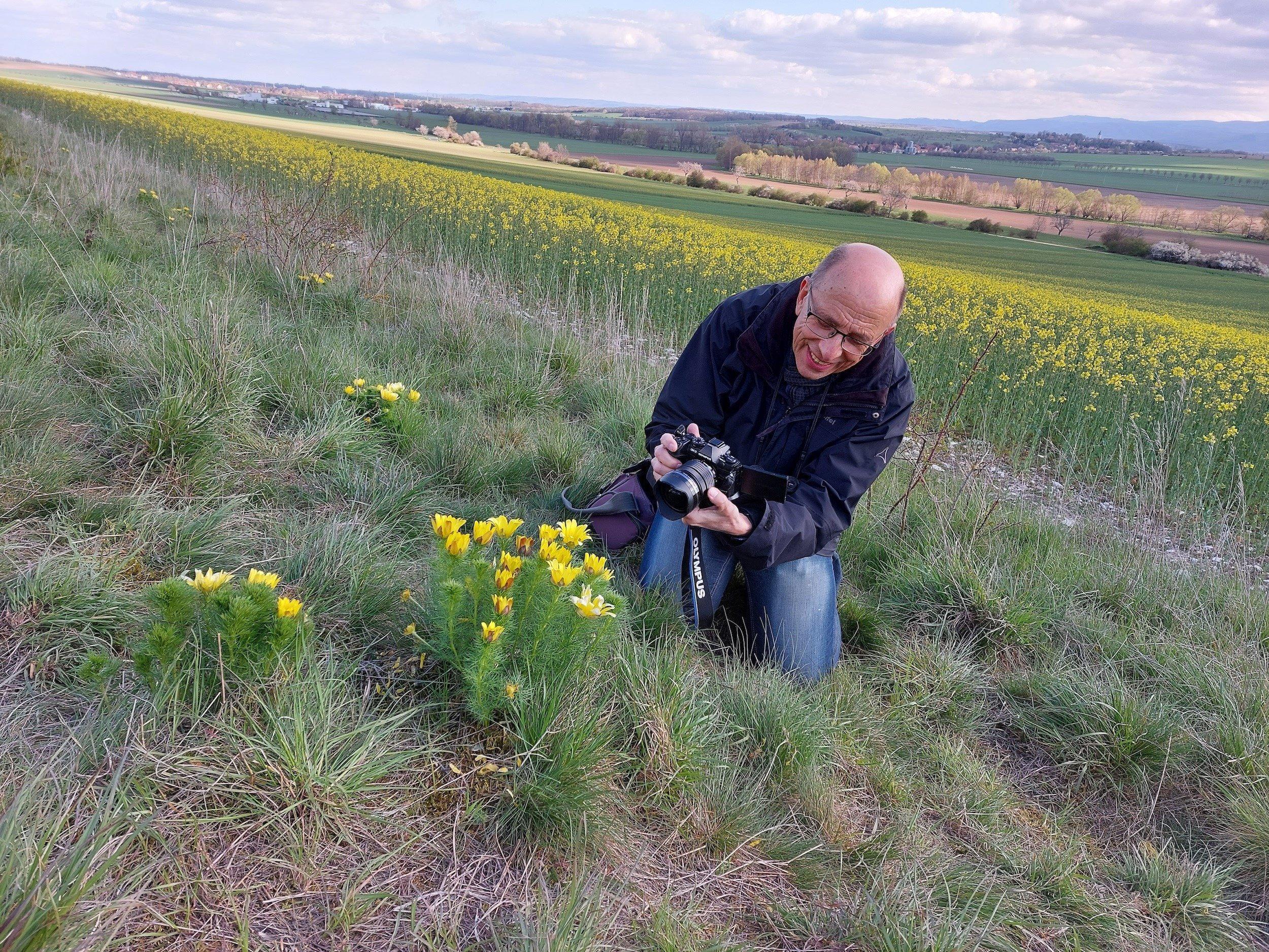 Büchs kniet vor einem Adonisröschen in weiter Landschaft und hat eine  Kamera in der Hand.