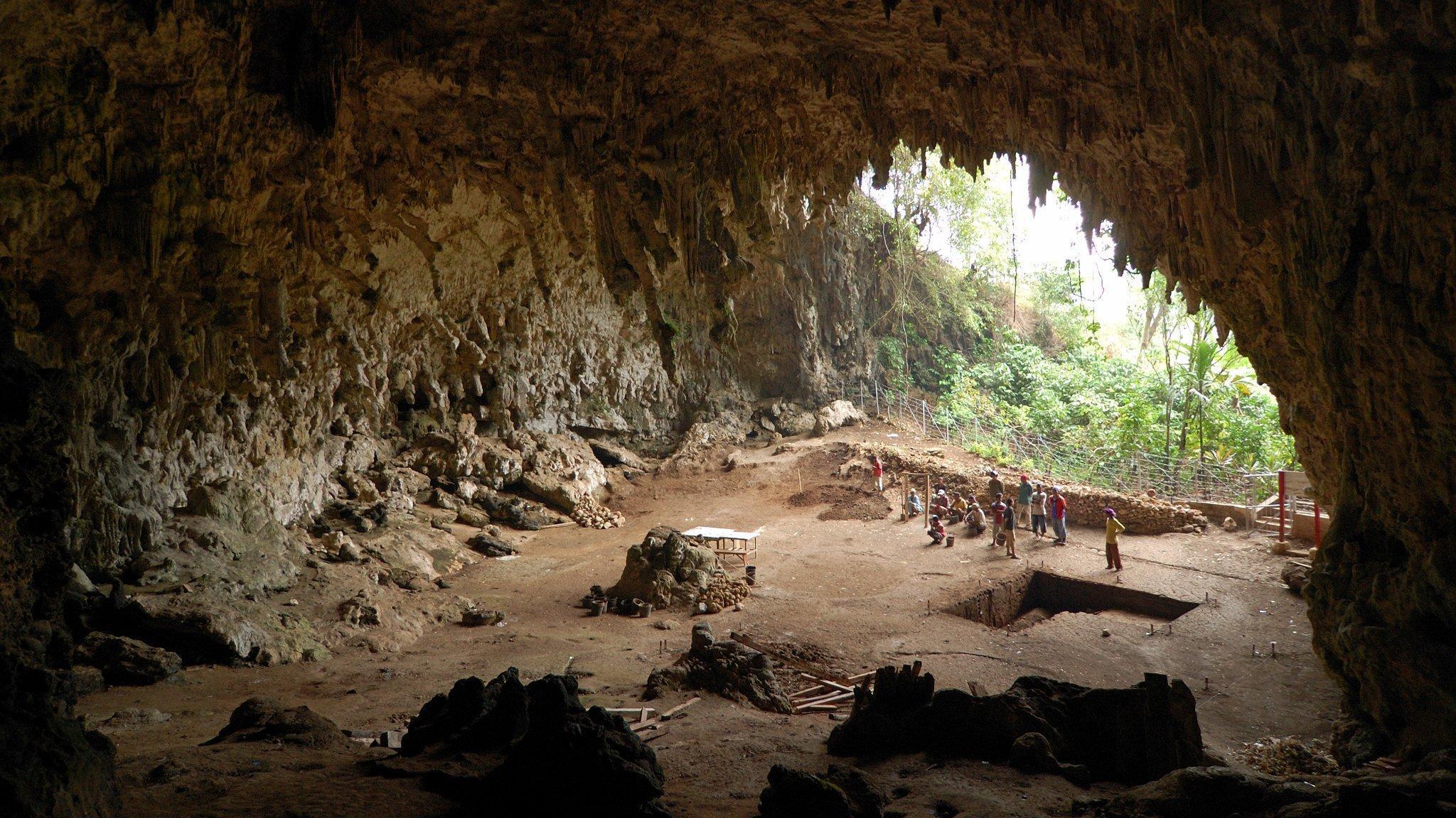 Das Bild zeigt das runde Gewölbe und den braunen Boden im Inneren der Höhle von Lian Bua auf der indonesischen Insel Flores. Dort sieht man als kleine Figuren Forscher, die nach Relikten von Urmenschen graben. Im Jahr 2003entdeckten sie die Knochen eines rätselhaften, sehr kleinen Urmenschen, der den wissenschaftlichen Namen Homo floresiensis erhielt und wegen seiner zwergenhaften Größe auch Hobbit genannt wird. Hinter den Forschern öffnet sich der Blick nach außen, wo im Hintergrund eine üppige Dschungellandschaft zu sehen ist, die vor der Höhle liegt.