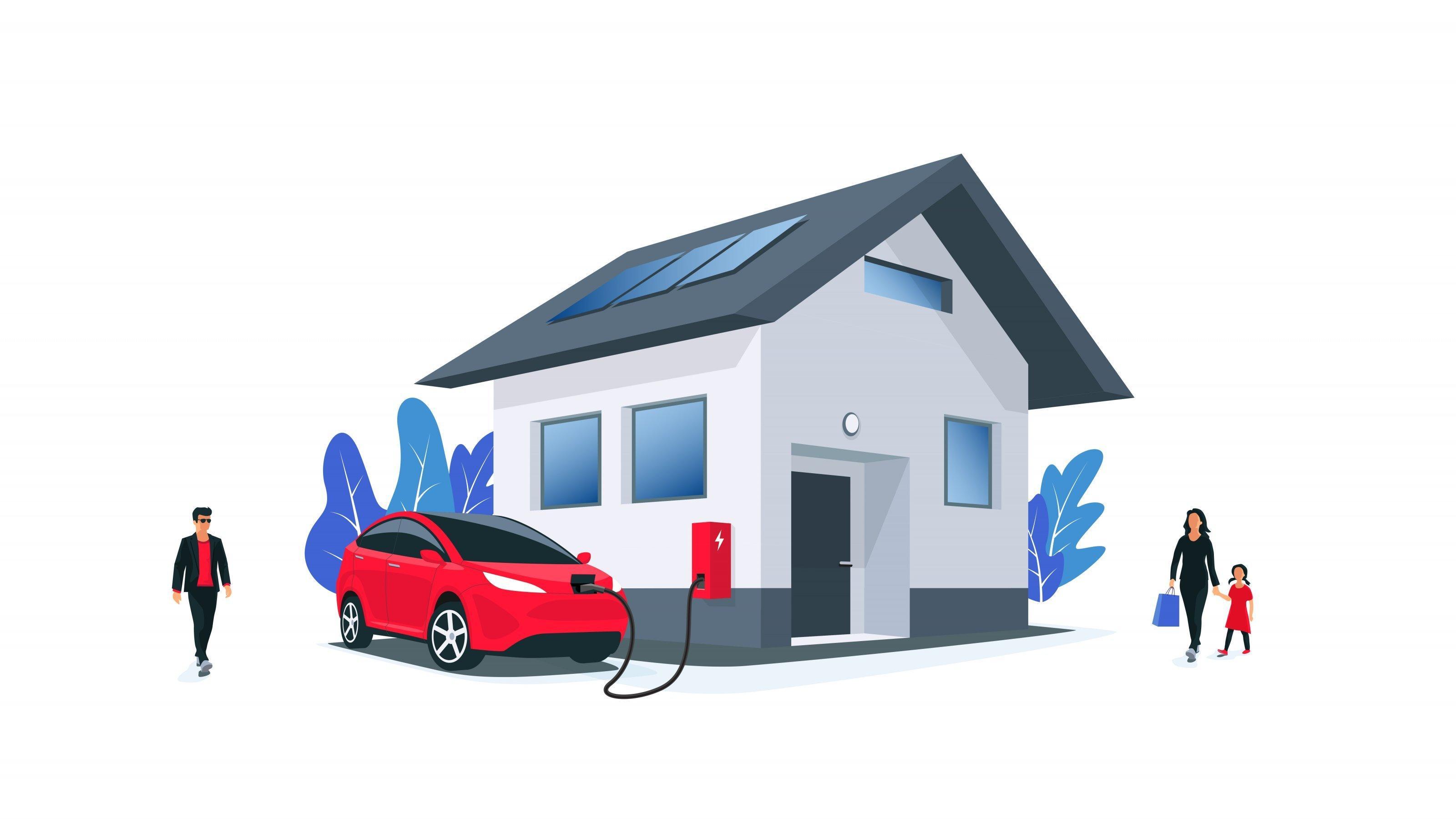 Ein Elektroauto parkt vor einem Haus und lädt an einer Wallbox Strom. Auf dem Dach des Hauses sind Solarpanels angebracht; vor dem Haus gehen Personen spazieren.