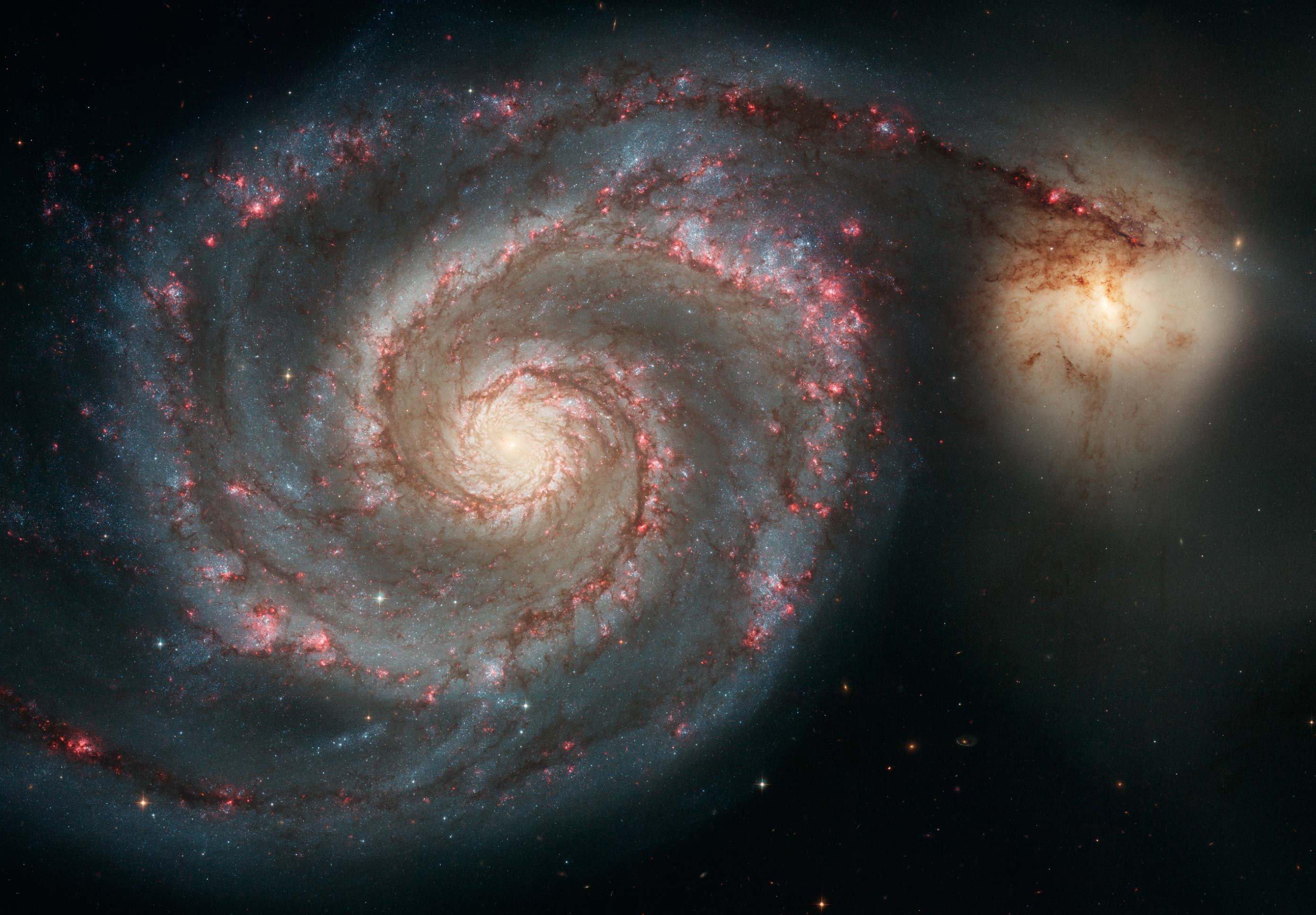 Diese Aufnahme des Hubble Space Telescope ziegt die sogenannte Whirlpool -Galaxie M51in voller Pracht. Ein Spiralarm scheint zu einer kleineren, unregelmäßigen Nachbargalaxie, NGC 5195 überzulaufen.