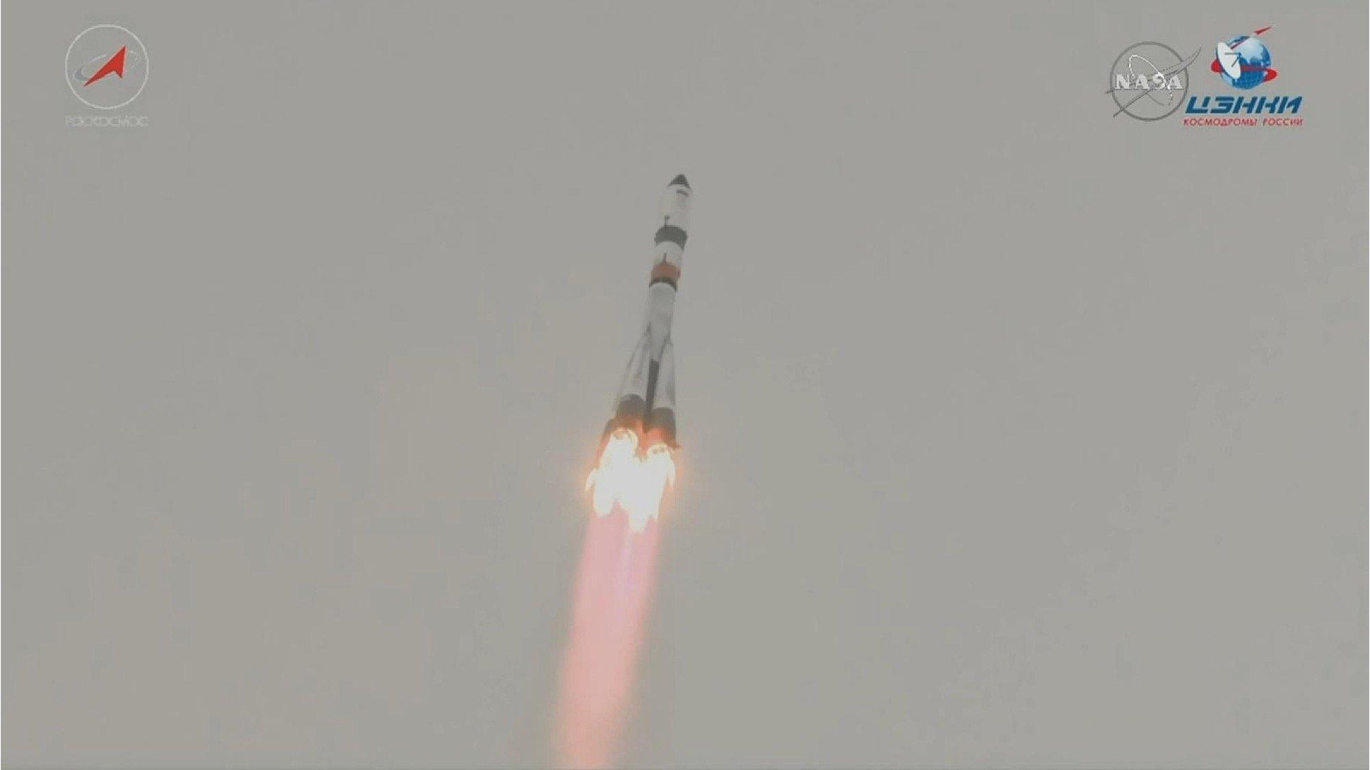Eine Sojus-2-Rakete startet.