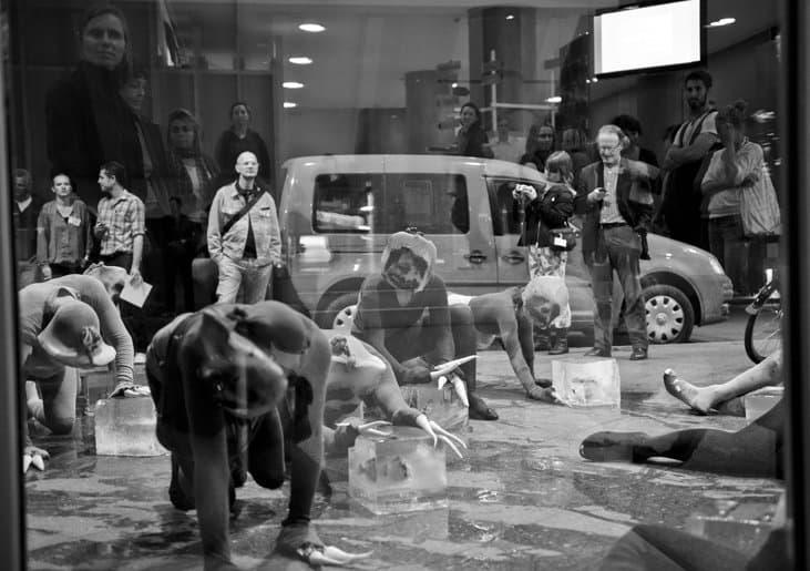 Auf einem Schwarz-Weiß-Fotos sieht man durch eine spiegelnde Scheibe gleichzeitig einen Raum mit Besuchern, die Handys und Papiere in der Hand halten und einigen Performern, die Faultiere spielen, und auch die Straße samt Auto.