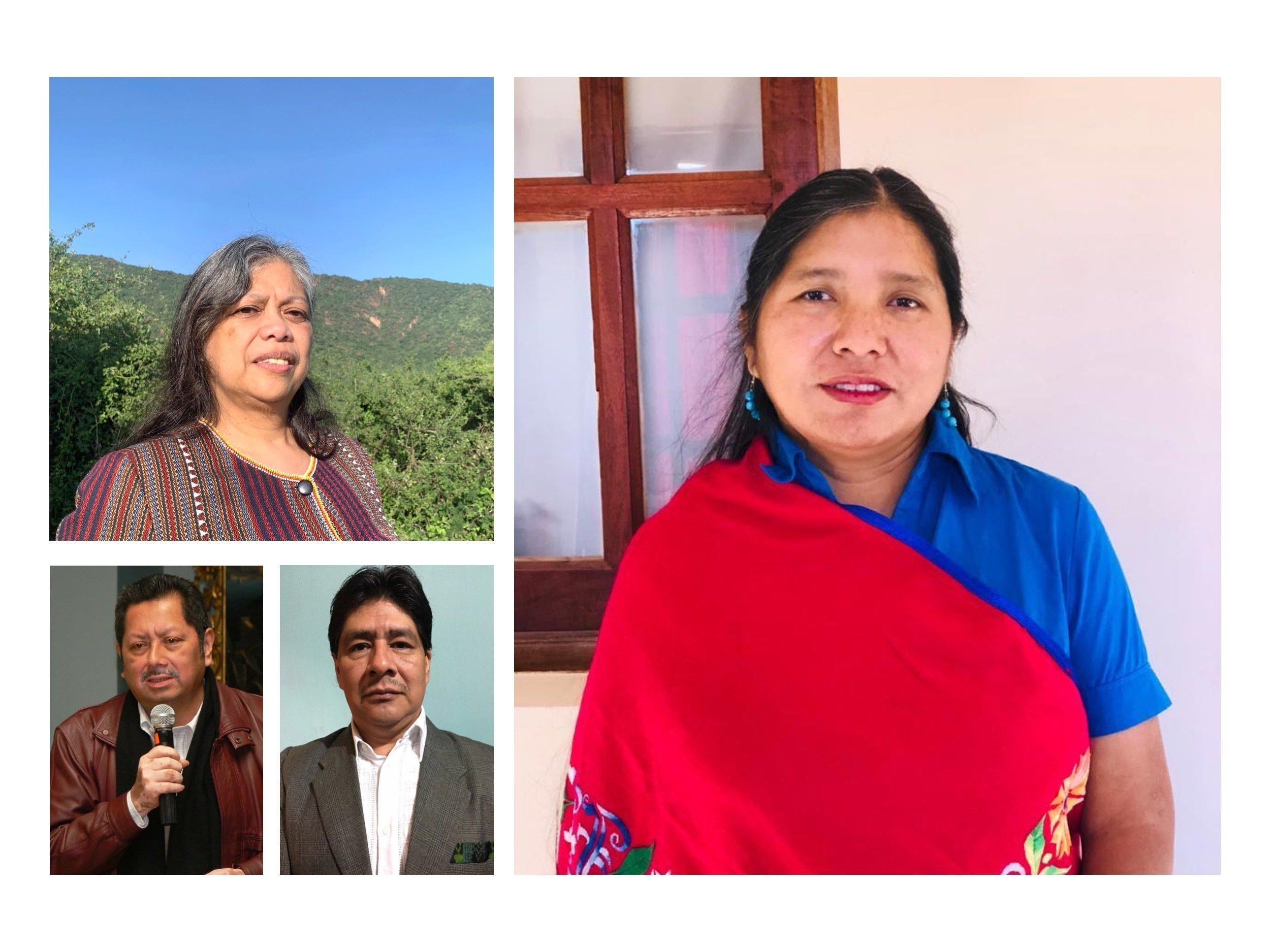 Vier indigene Interessensvertreter, Joji Cariño von den Philippinen, Viviana Figueroa aus Argentinien, Ramiro Batzin aus Guatemala und Donald Rojas aus Costa Rica.