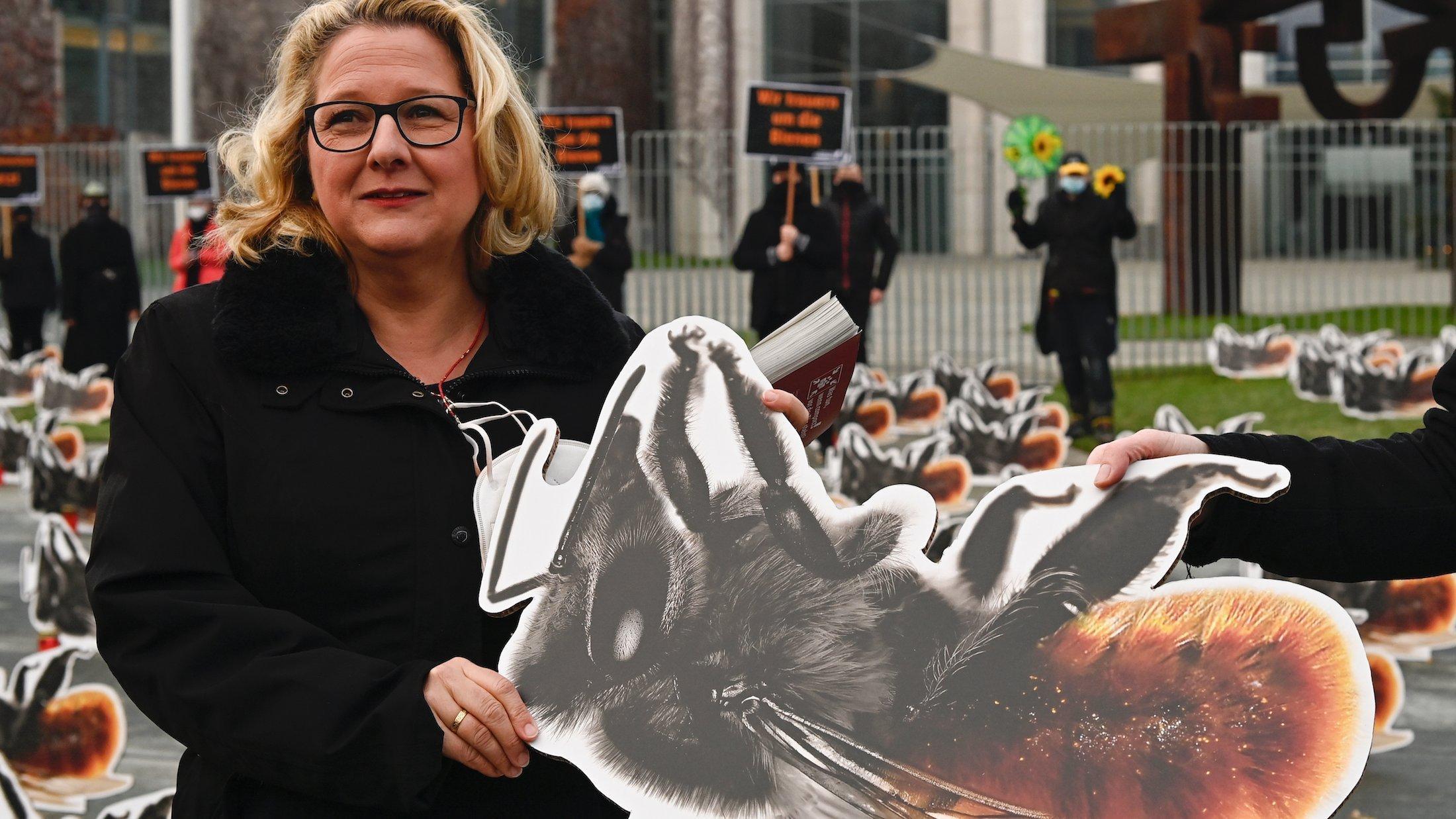 Umweltministerin Schulze steht vor dem Bundeskanzleramt in Berlin. Sie hält das Bild einer Biene hoch. Im Hintergrund sind Demonstrantïnnen zu sehen, die für mehr Insektenschutz eintreten.
