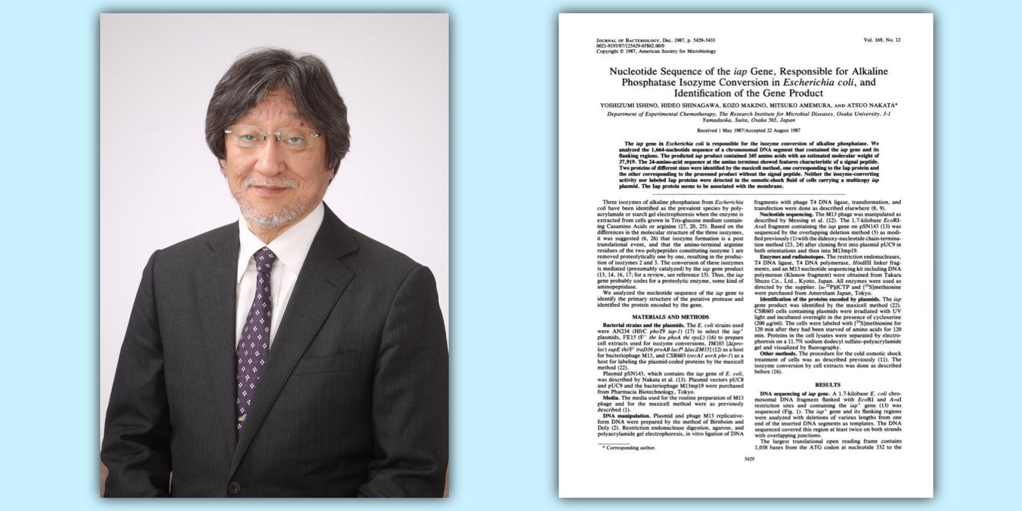 Yoshizumi Ishino (links), erste Seite des Fachartikels im Journal of Bacteriology (rechts), in dem er und seine Kollegen von der Universität Osaka erstmals die heute als CRISPR bekannte Struktur beschrieben.