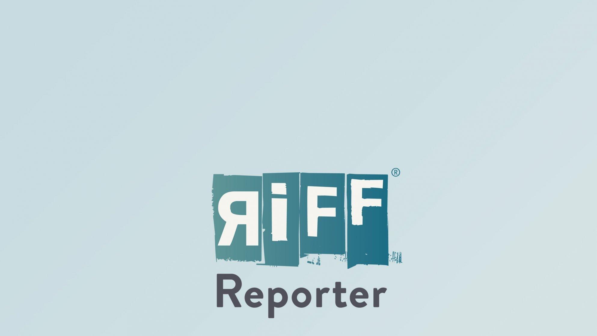 Eine Zeichentrickfigur im Mapuche-Look auf dem Fahrrad, im Hintergrund die Stadt
