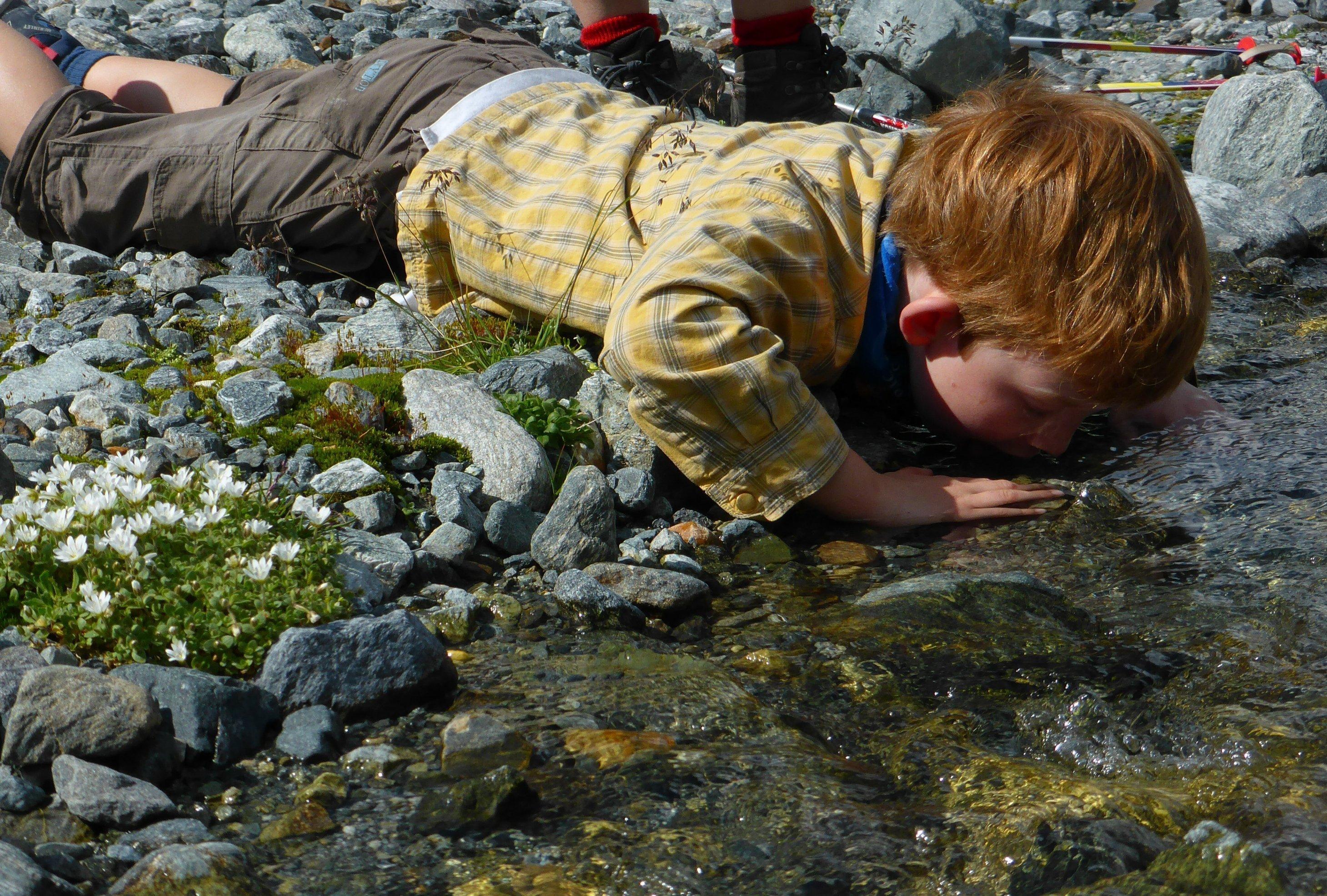 Sechsjähriger mit rotblondem Schopf liegt an einer Bachkante, den Mund ins Wasser getaucht.